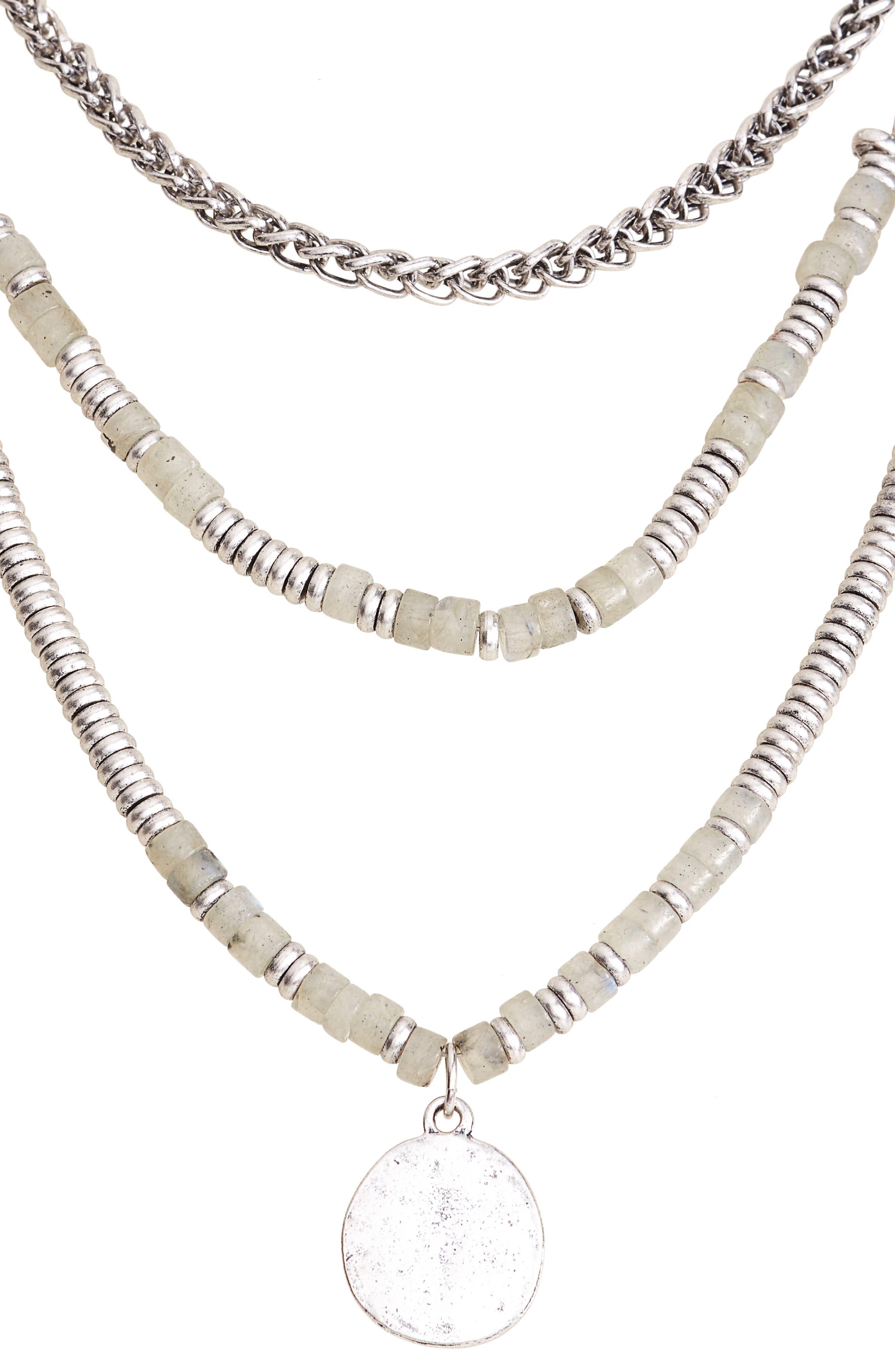 Beaded Frontal Necklace,                             Alternate thumbnail 2, color,                             Labradorite- Rhodium