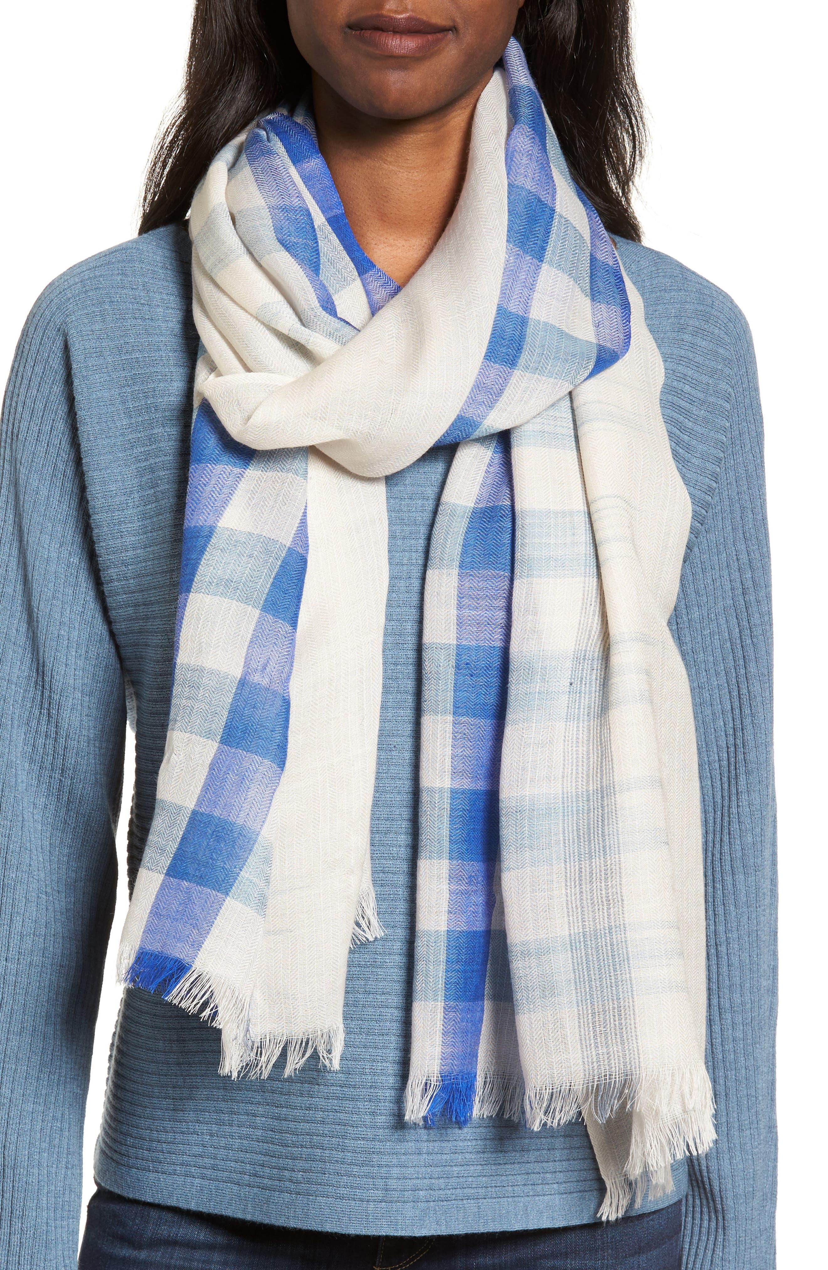 Alternate Image 1 Selected - Eileen Fisher Plaid Wool Scarf