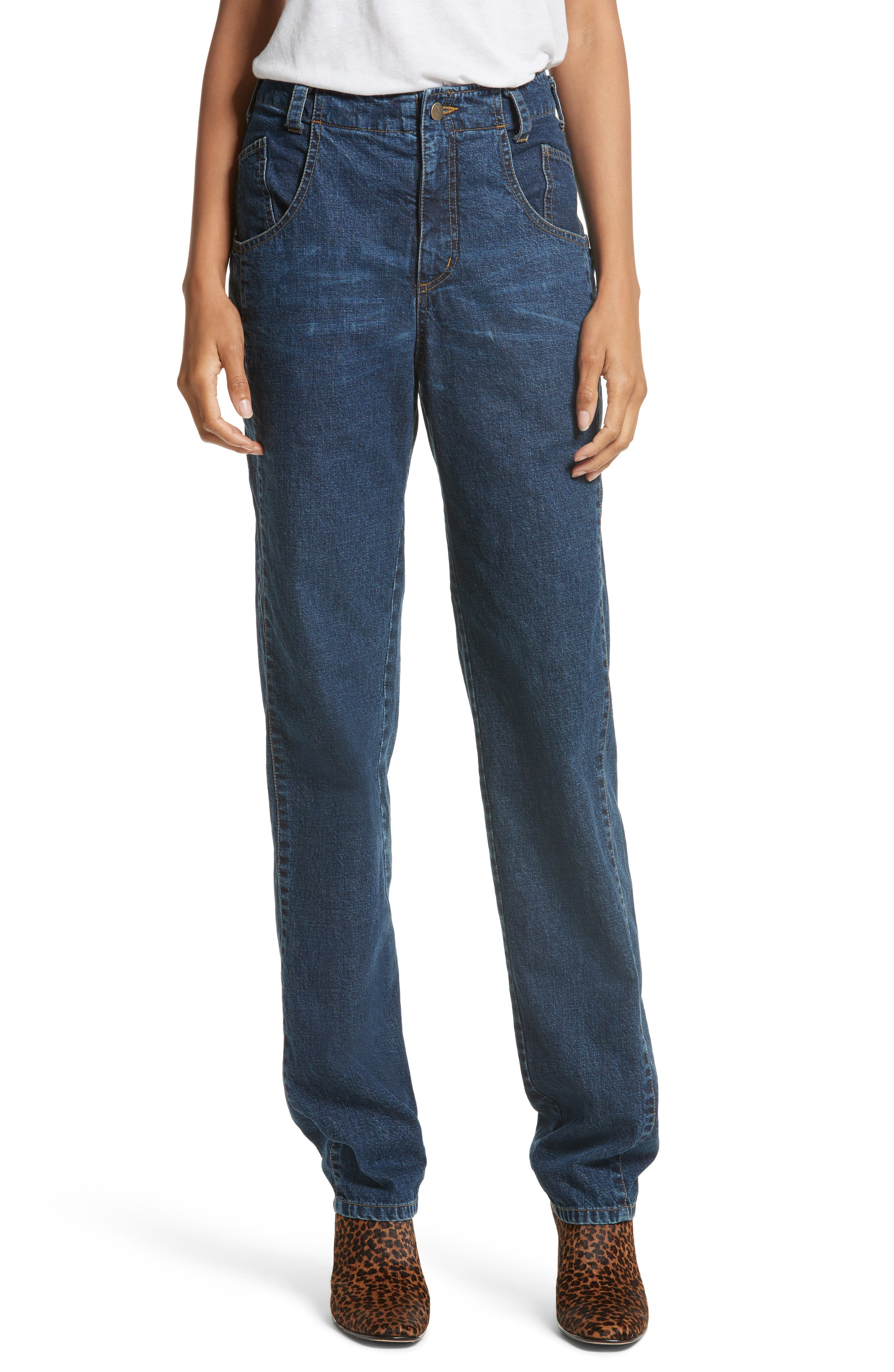 Long Trigger Straight Leg Jeans,                         Main,                         color, Classic Indigo