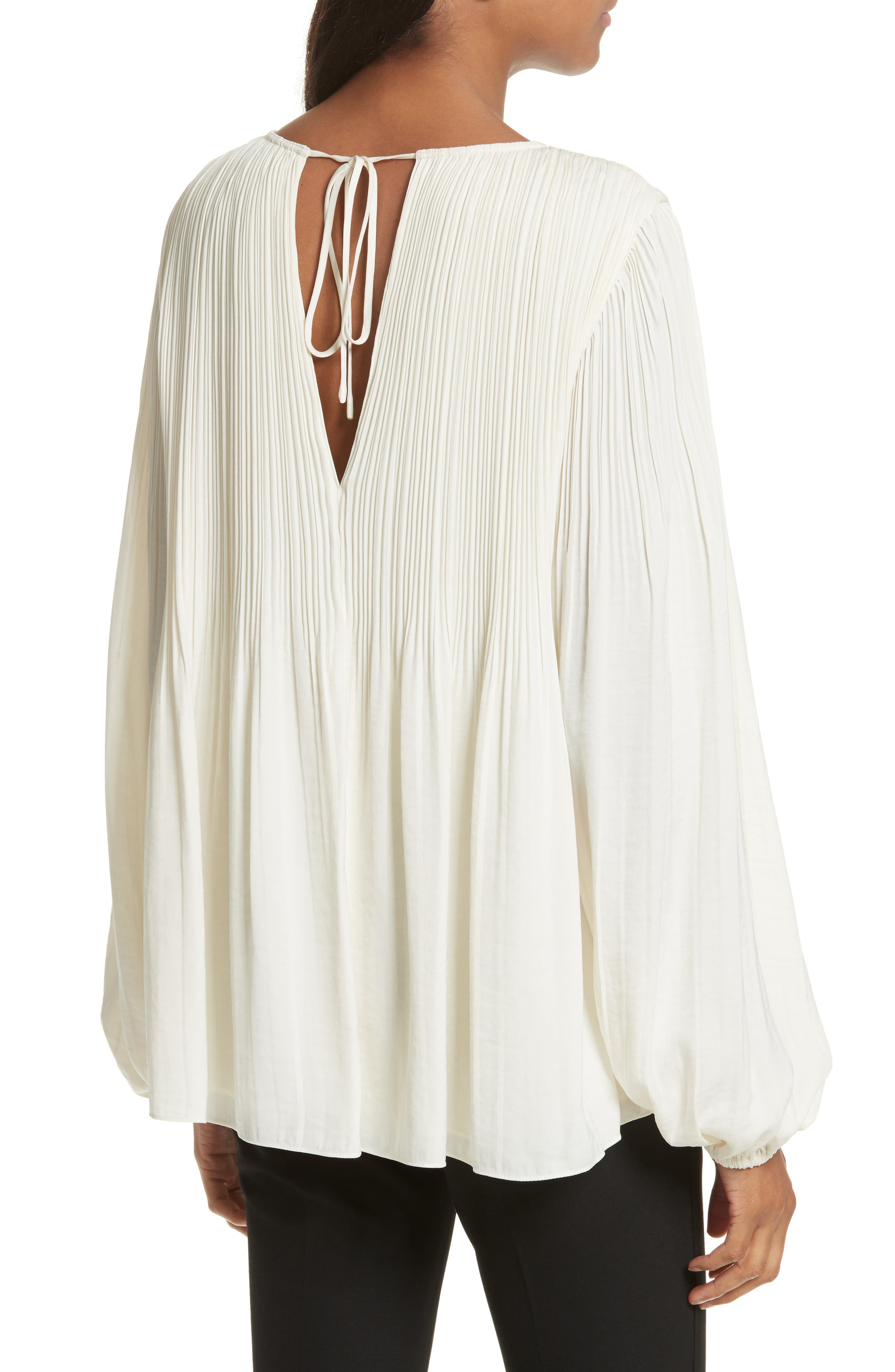 Grove Pleated Blouse,                             Alternate thumbnail 2, color,                             Alabaster