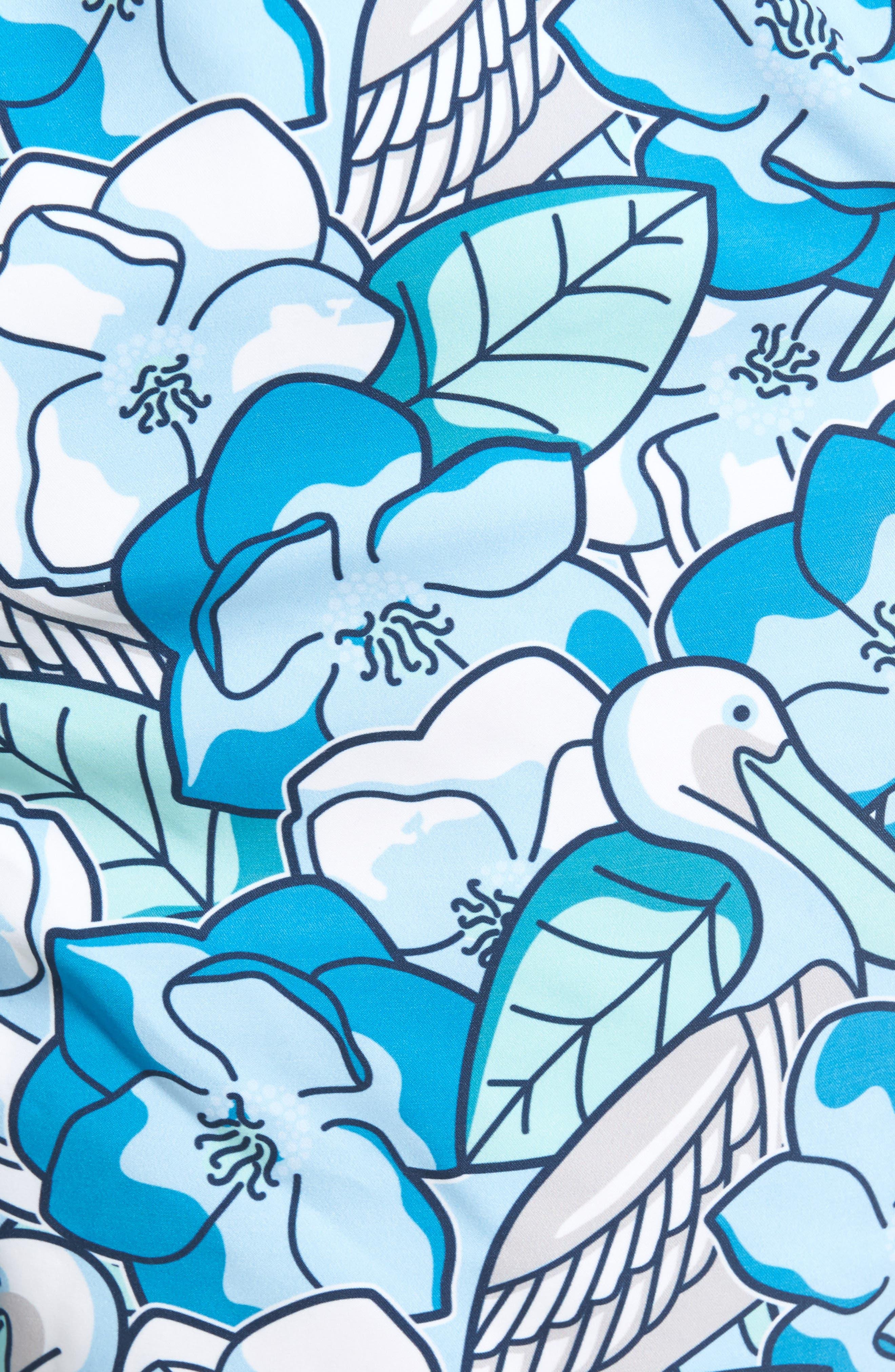 Pelican Magnolias Chappy Swim Trunks,                             Alternate thumbnail 5, color,                             Airy Blue