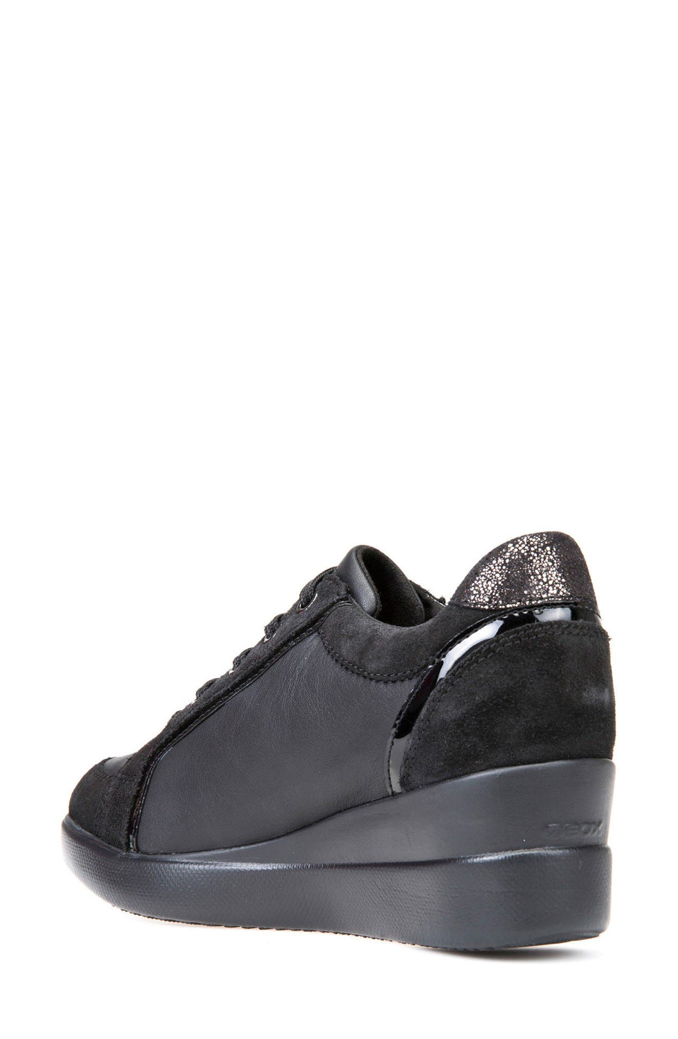 Stardust Wedge Sneaker,                             Alternate thumbnail 2, color,                             Black Leather