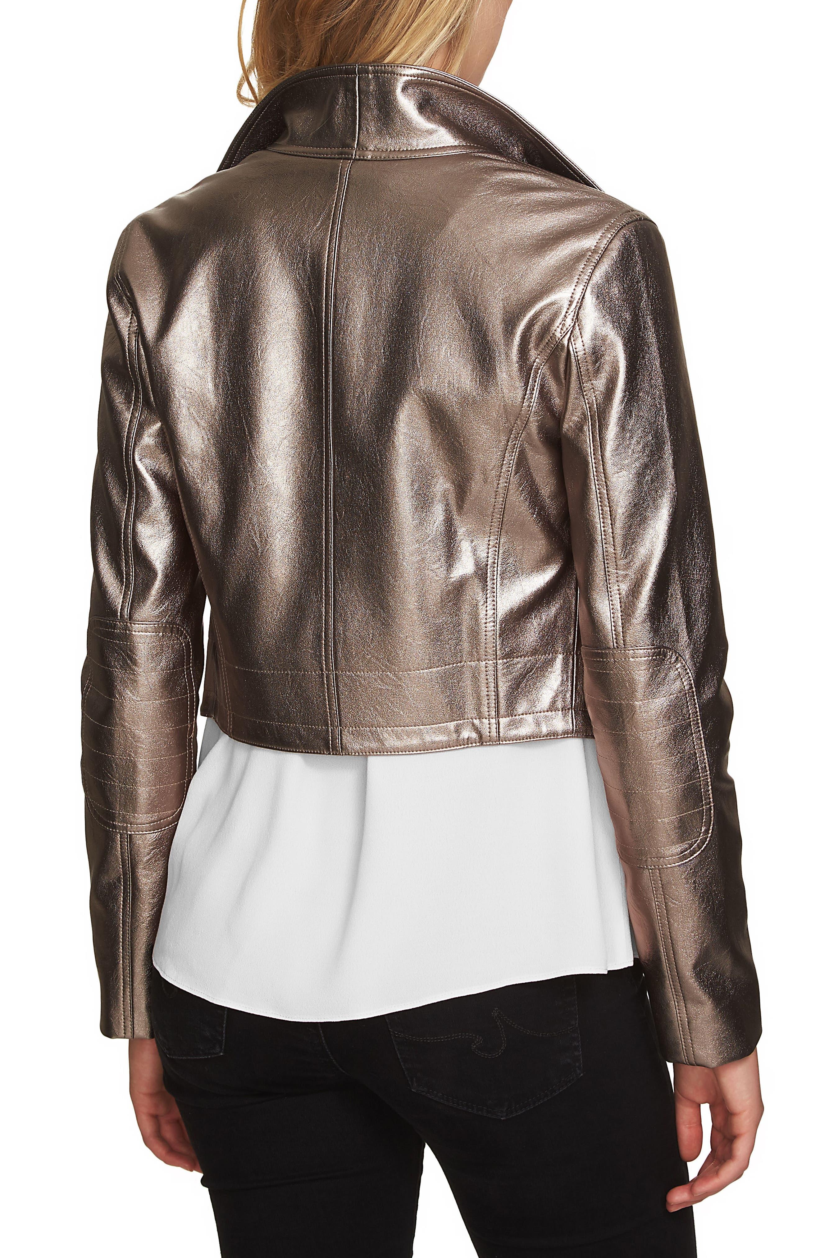 Crop Faux Leather Jacket,                             Alternate thumbnail 2, color,                             Silver Foil