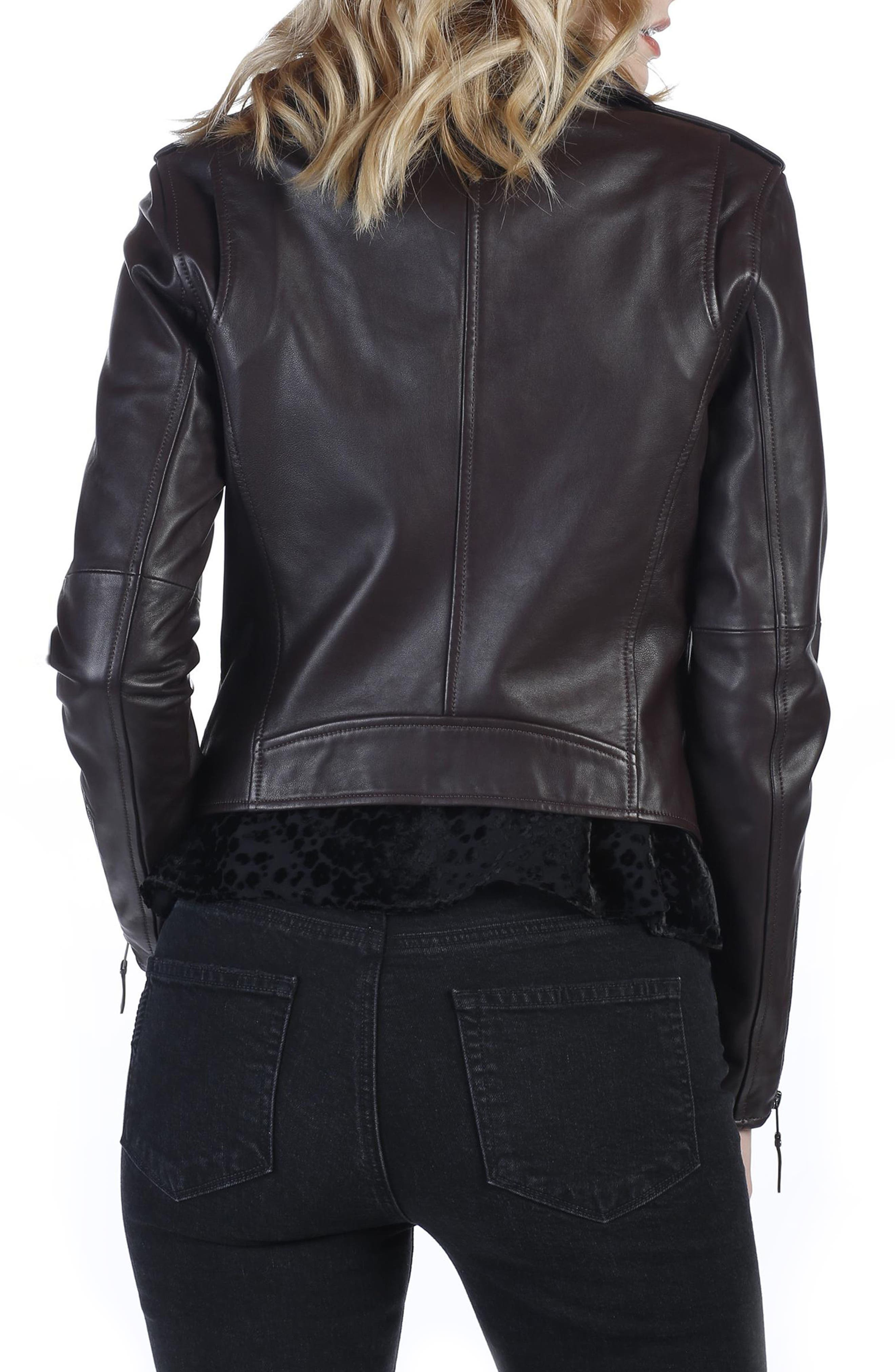 Danette Leather Moto Jacket,                             Alternate thumbnail 3, color,                             Black Cherry