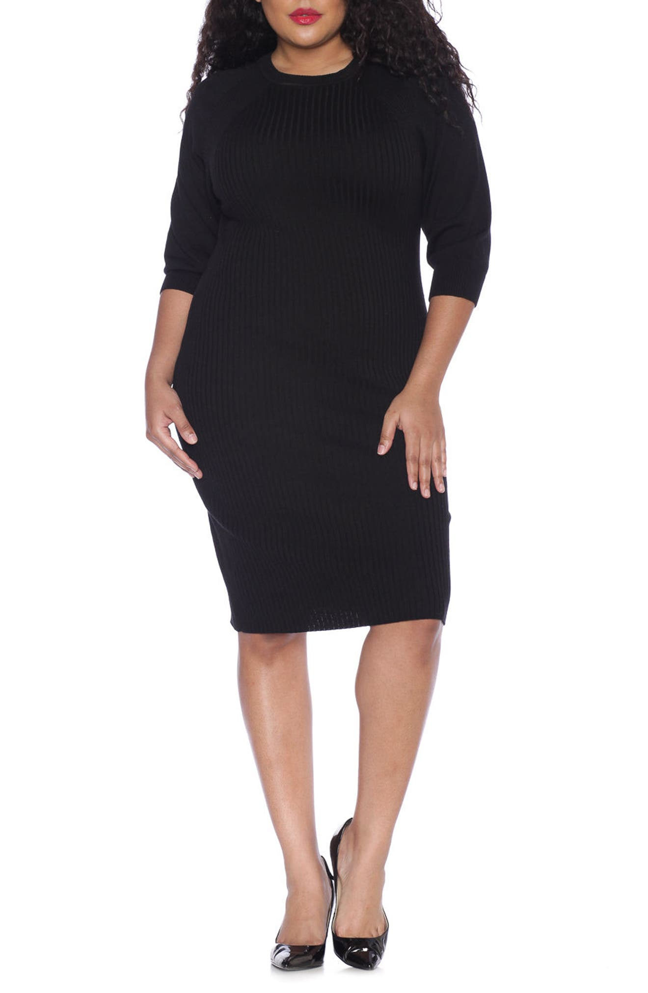 Main Image - SLINK Jeans Ribbed Sweater Dress (Plus Size)