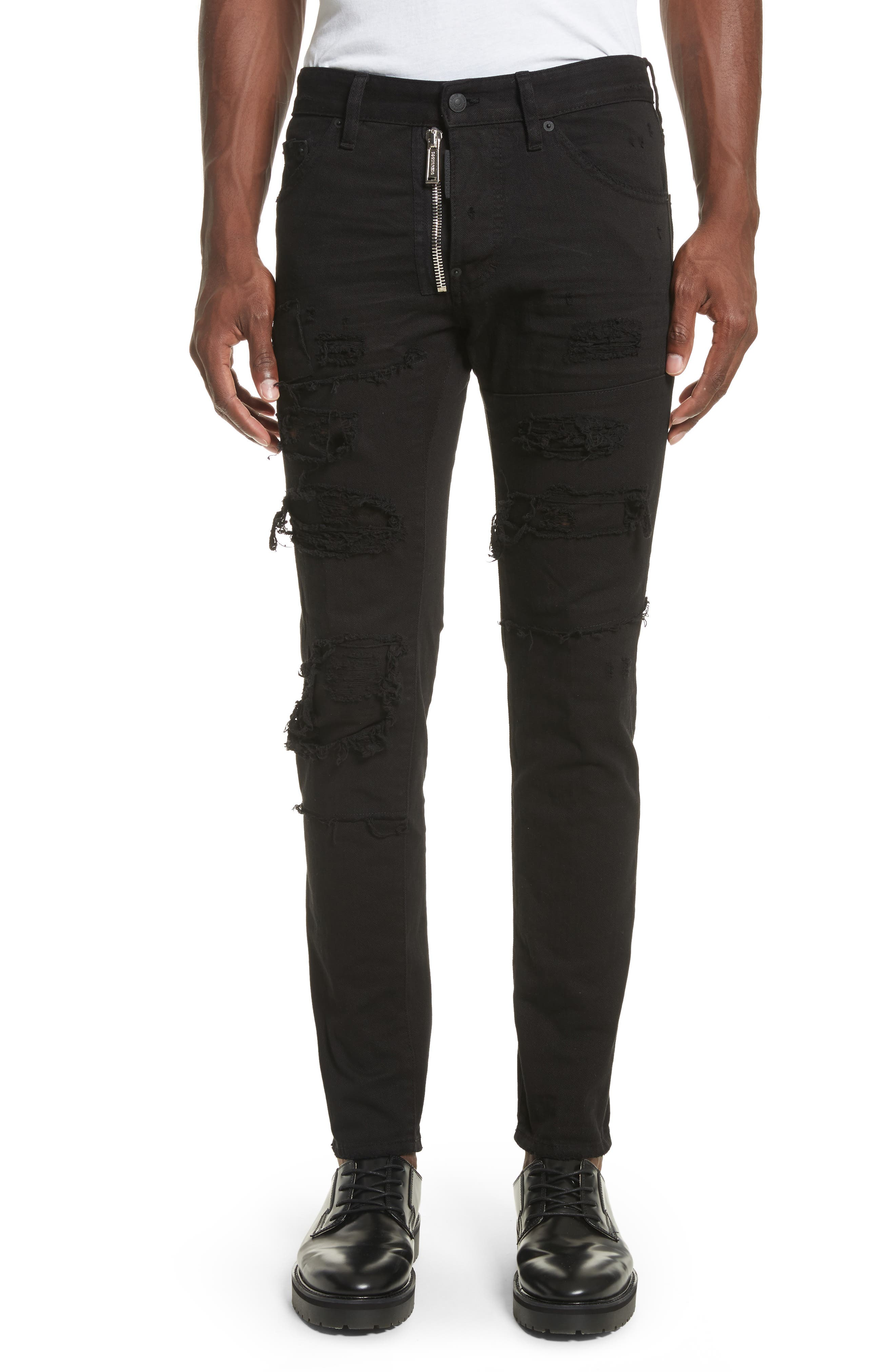 Ripped Washed Cool Guy Jeans,                             Main thumbnail 1, color,                             Black