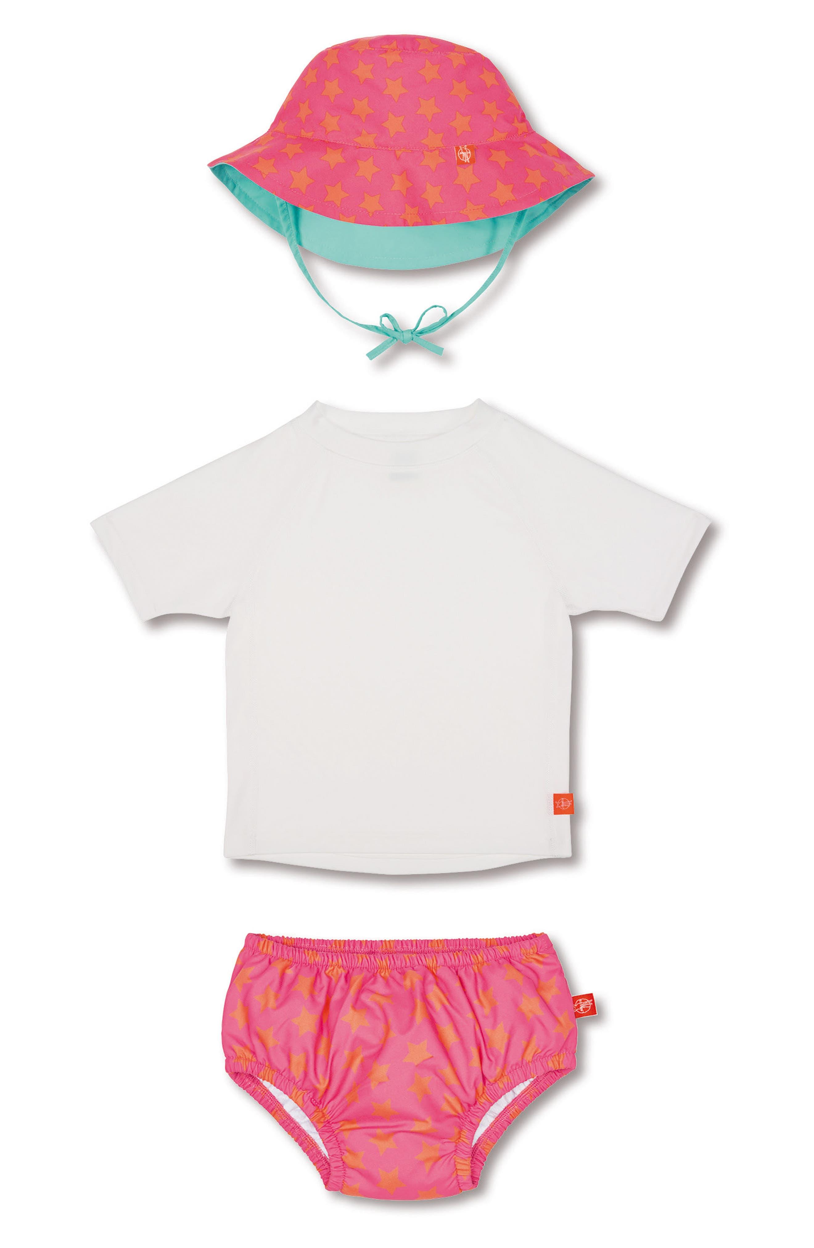 Lassig Two-Piece Rashguard Swimsuit & Hat Set,                         Main,                         color, Peach Stars