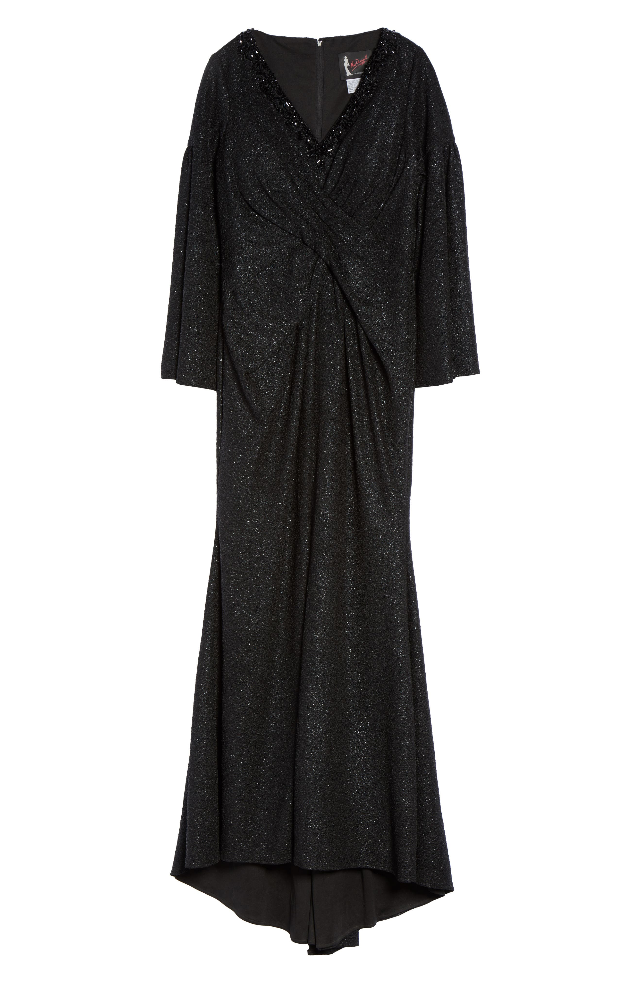 Bell Sleeve Embellished Gown,                             Alternate thumbnail 6, color,                             Black