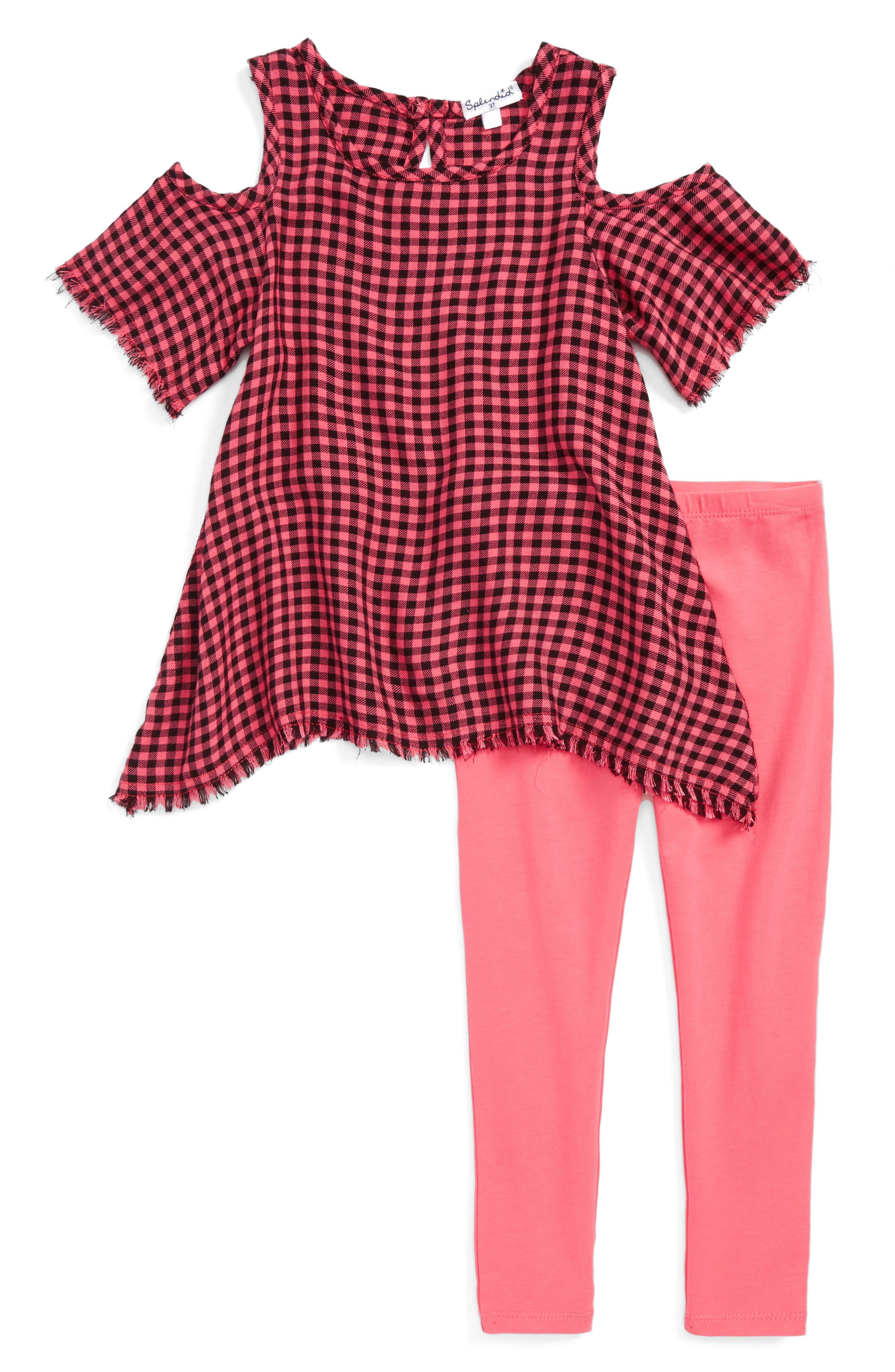 Alternate Image 1 Selected - Splendid Plaid Cold Shoulder Top & Leggings Set (Little Girls)