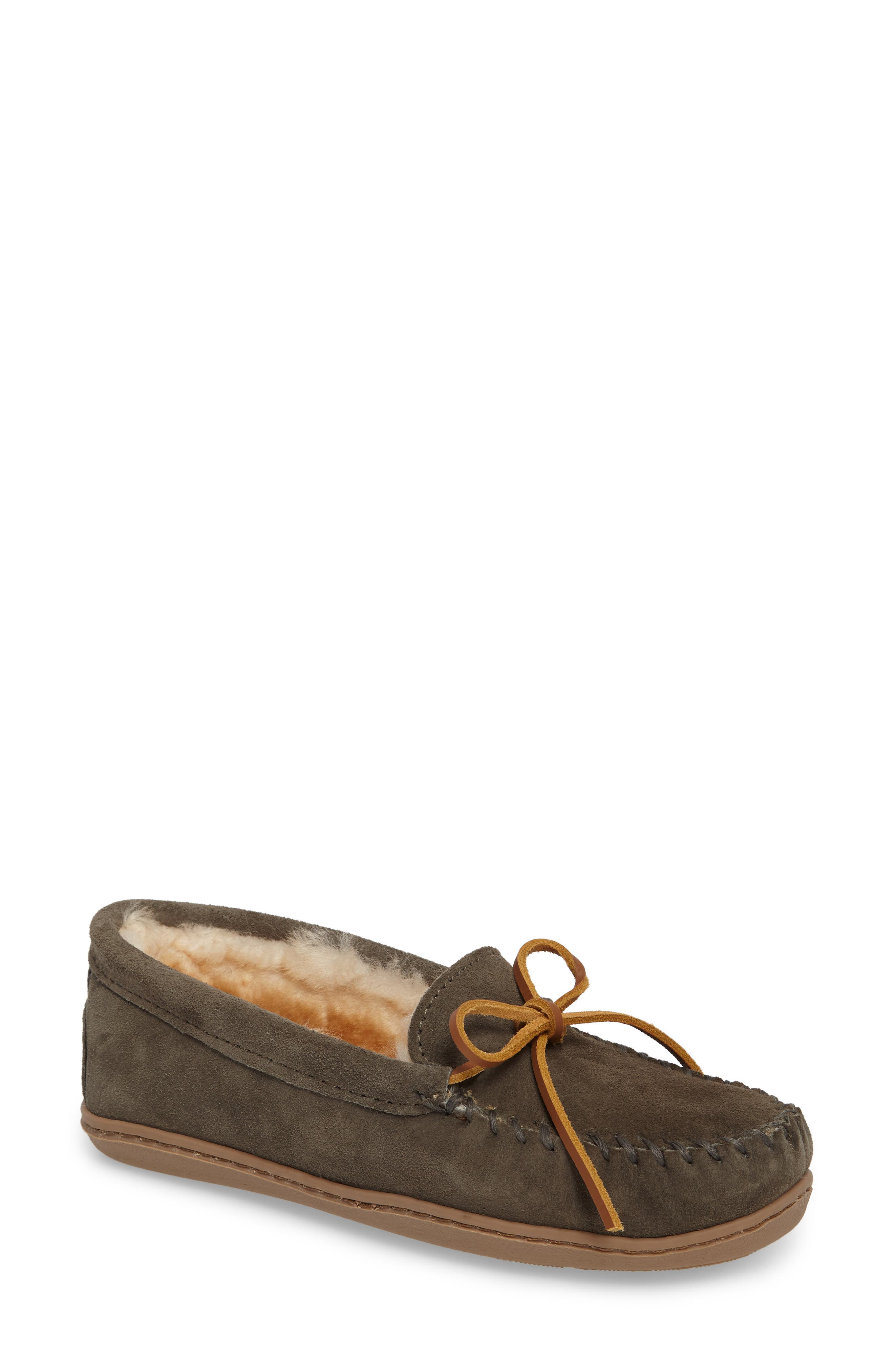Genuine Shearling Hard Sole Moccasin Indoor/Outdoor Slipper,                             Main thumbnail 1, color,                             Grey