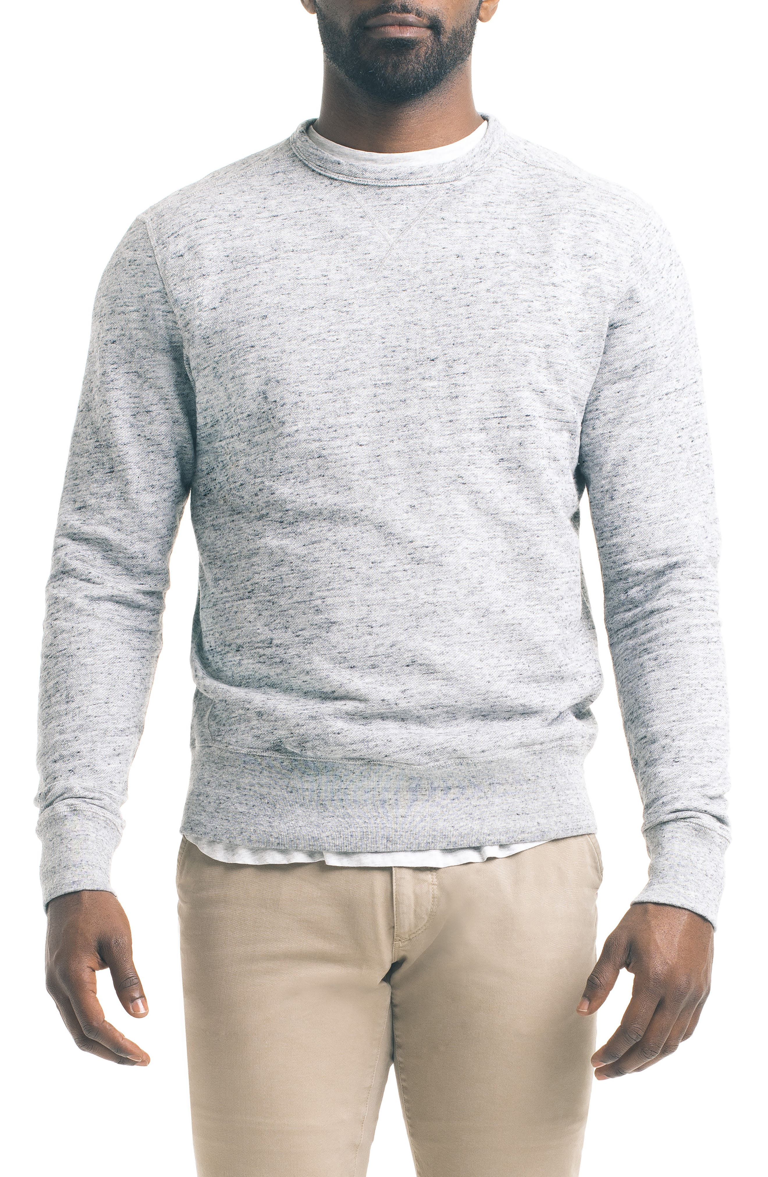 Varsity Slim Slub Sweatshirt,                             Main thumbnail 1, color,                             Charcoal Heather