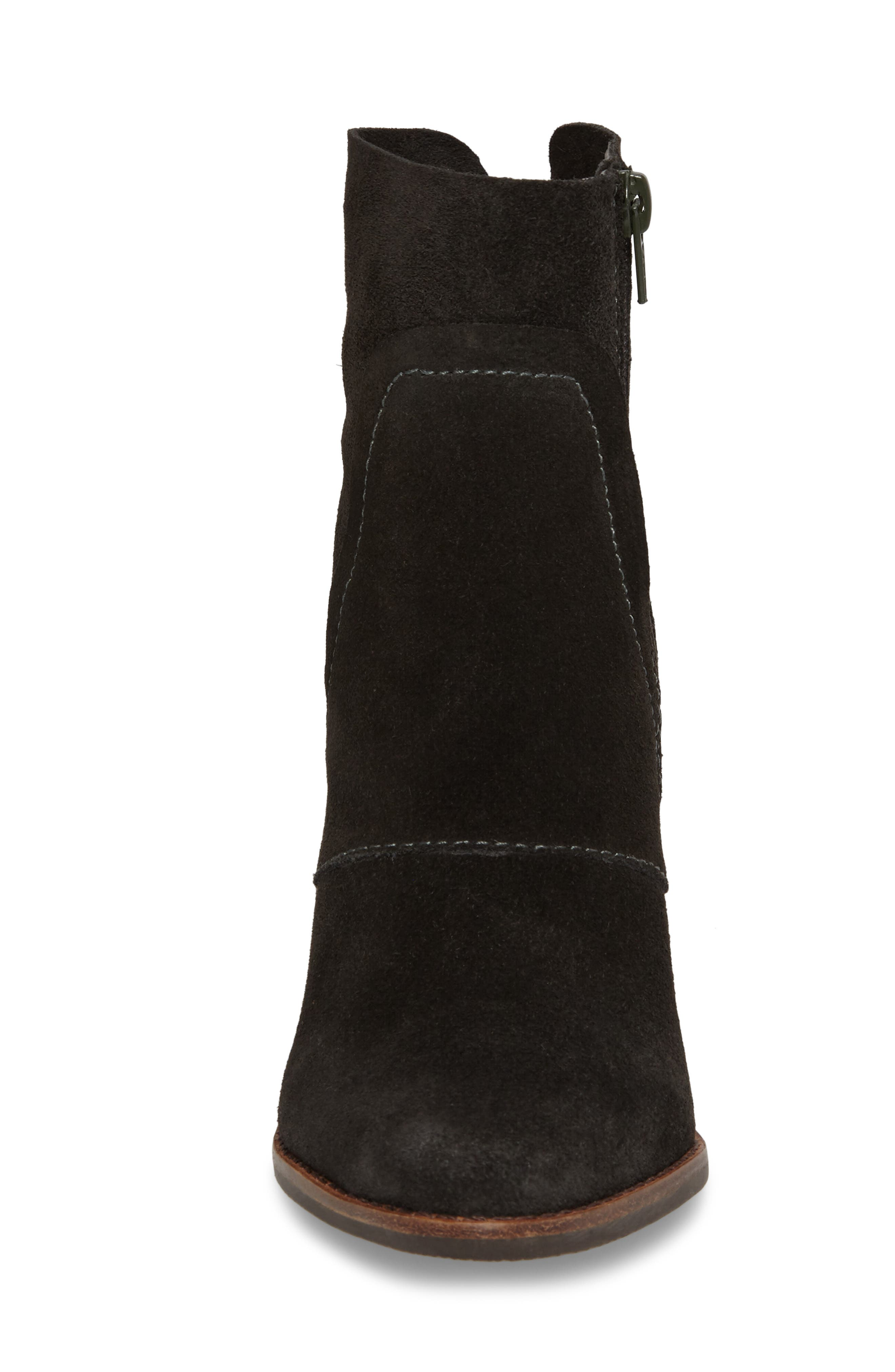Laney Notched Heel Bootie,                             Alternate thumbnail 4, color,                             Forest Suede