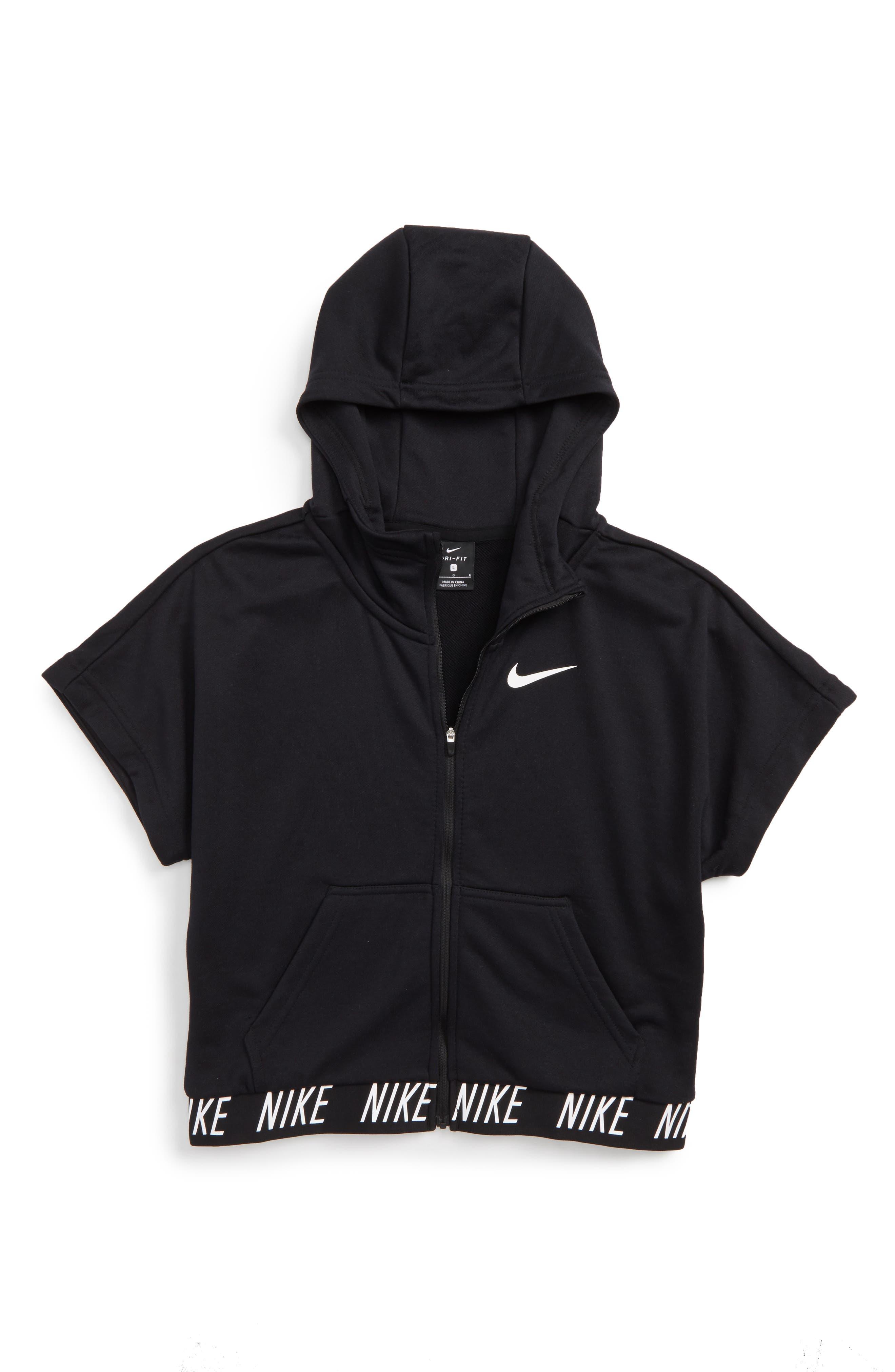 Dry Core Studio Short Sleeve Hoodie,                         Main,                         color, Black