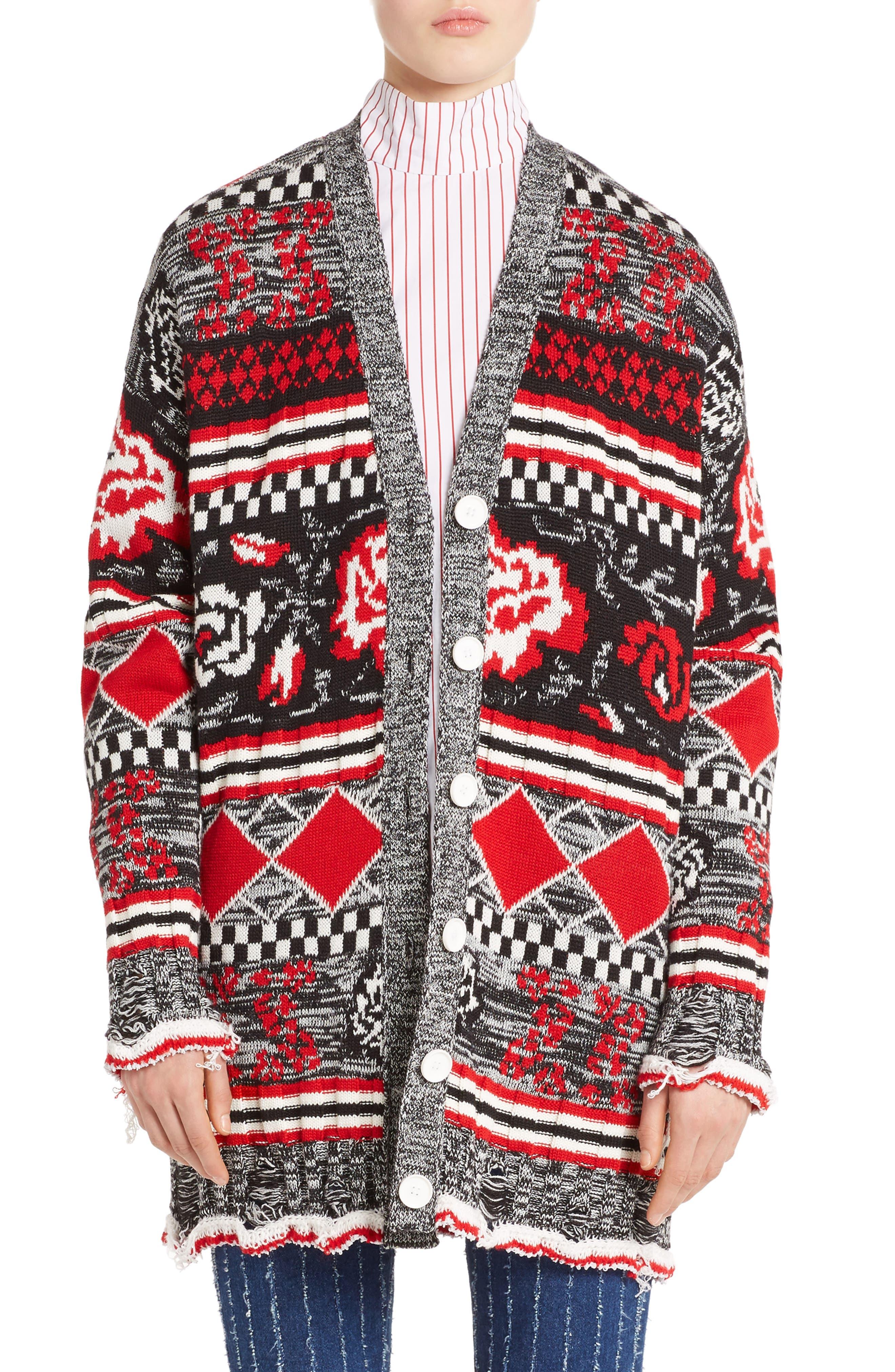 Rose Jacquard Wool Blend Cardigan,                             Main thumbnail 1, color,                             Black/ Red/ White