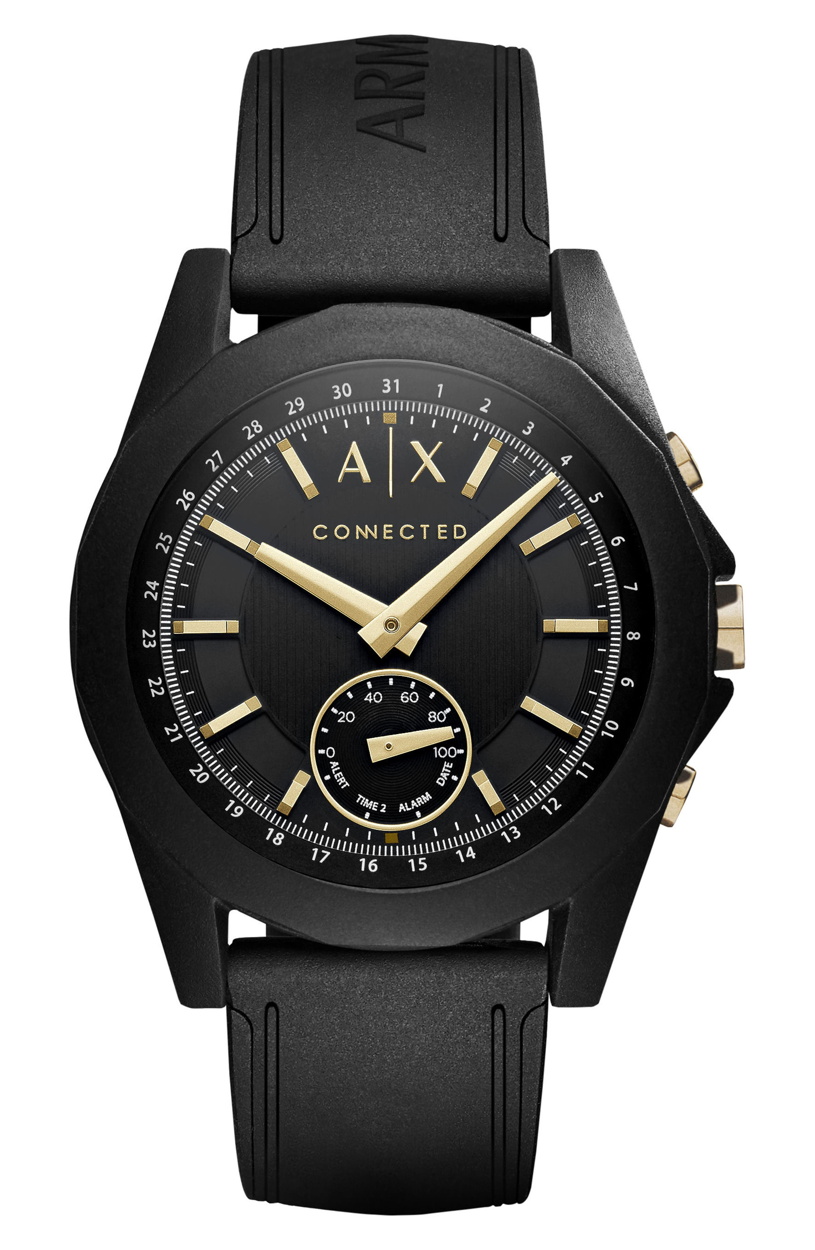 AX Armani Exchange Silicone Strap Hybrid Smart Watch, 44mm