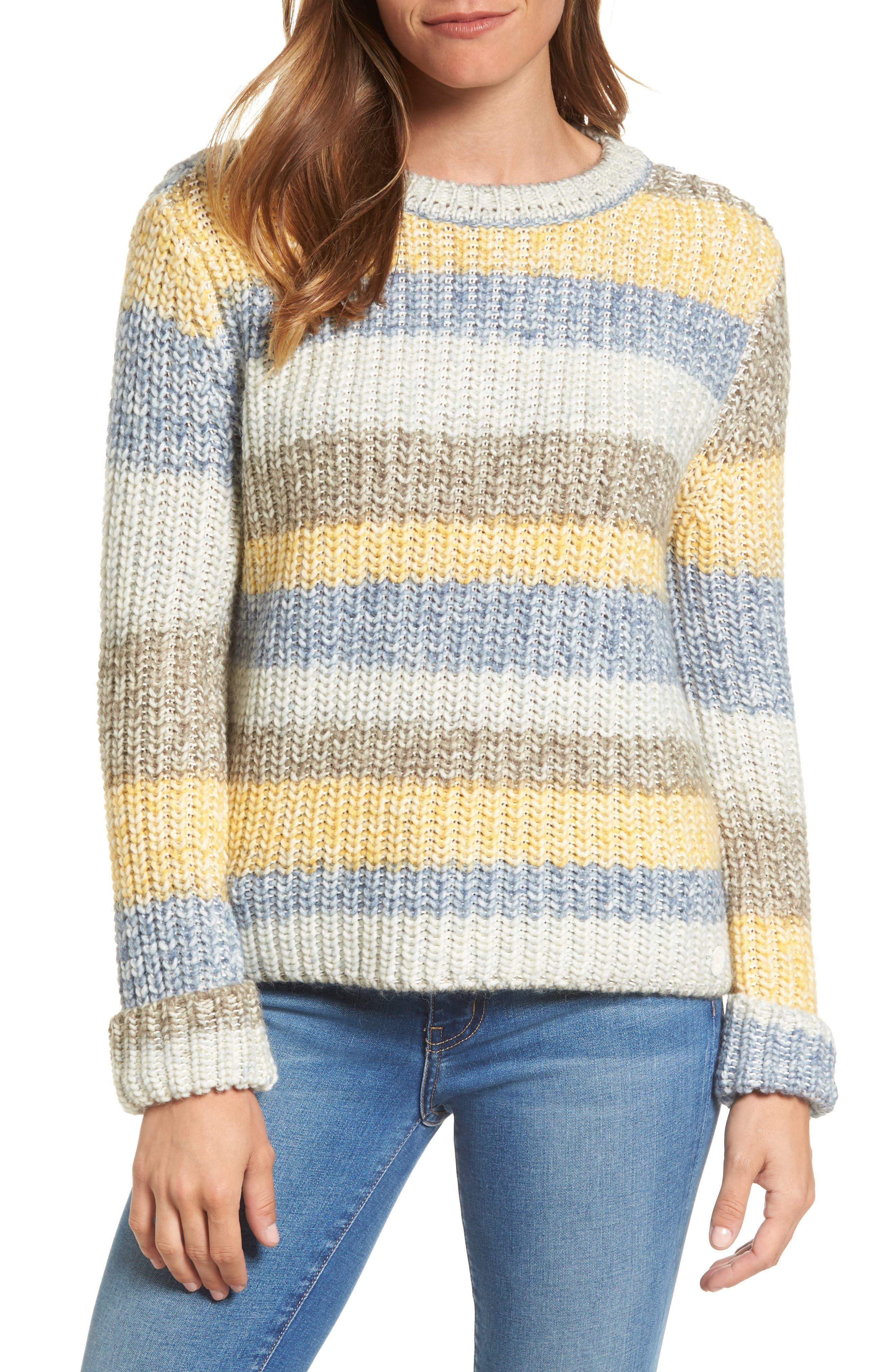 Hive Knit Fisherman Sweater,                             Main thumbnail 1, color,                             Sun Gold