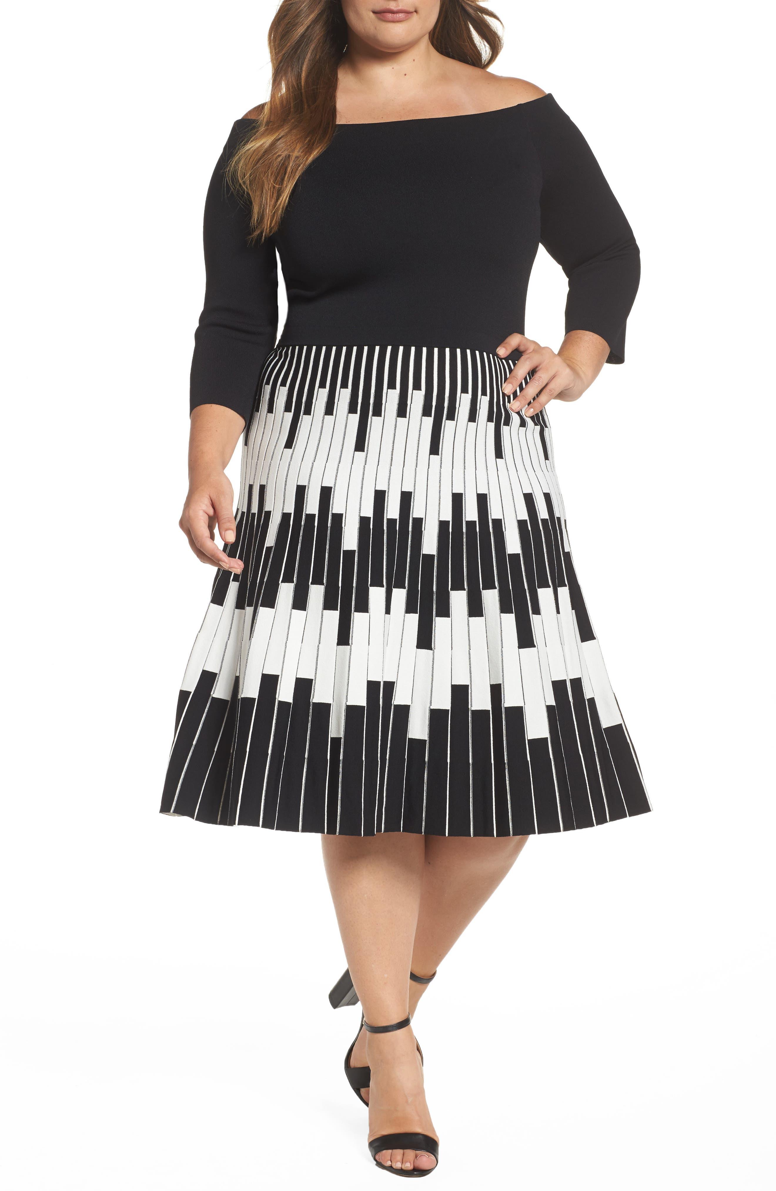 Knit Fit & Flare Dress,                         Main,                         color, Black/ Ivory