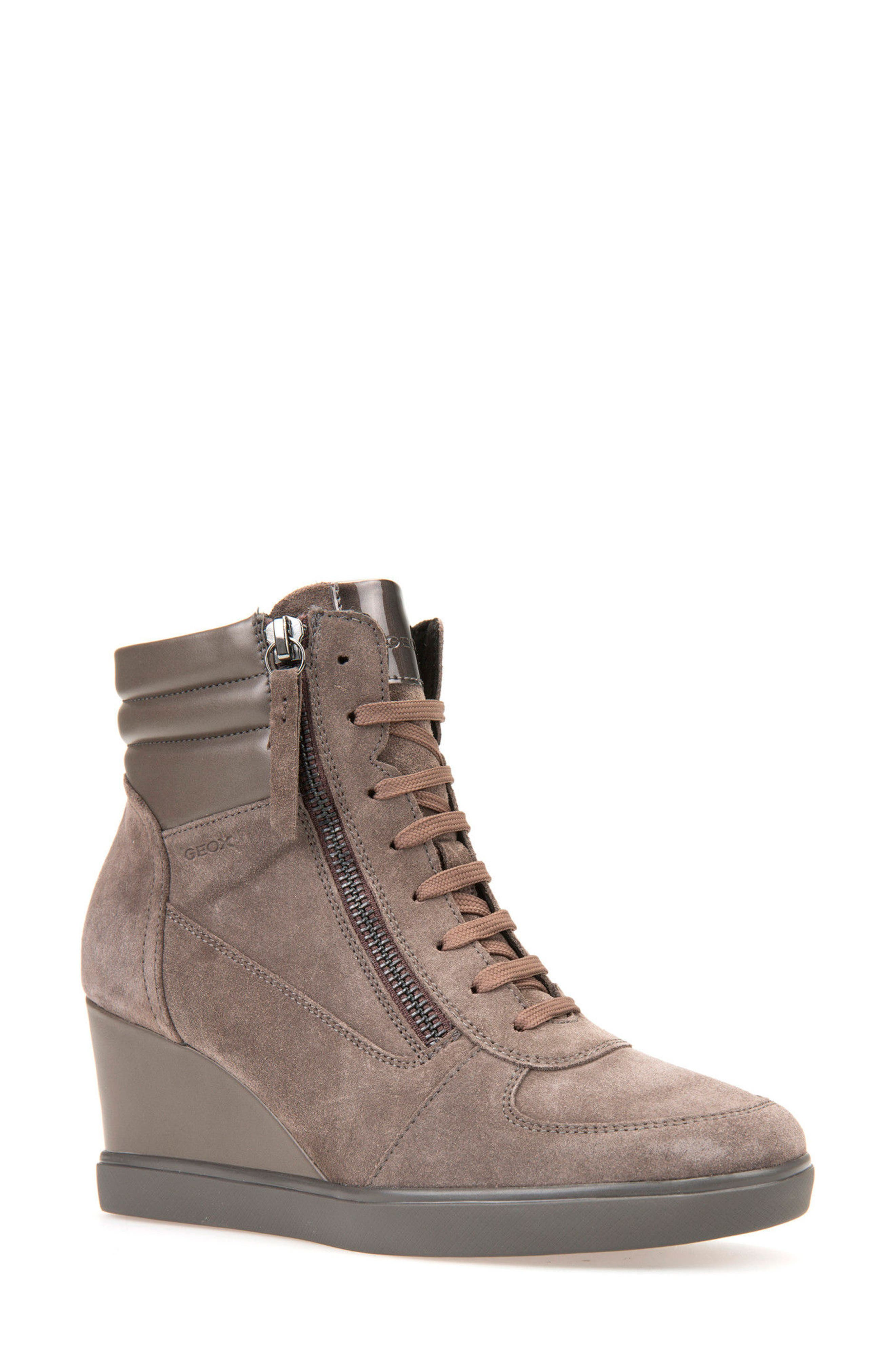 Alternate Image 1 Selected - Geox Eleni Lace-Up Wedge Bootie (Women)