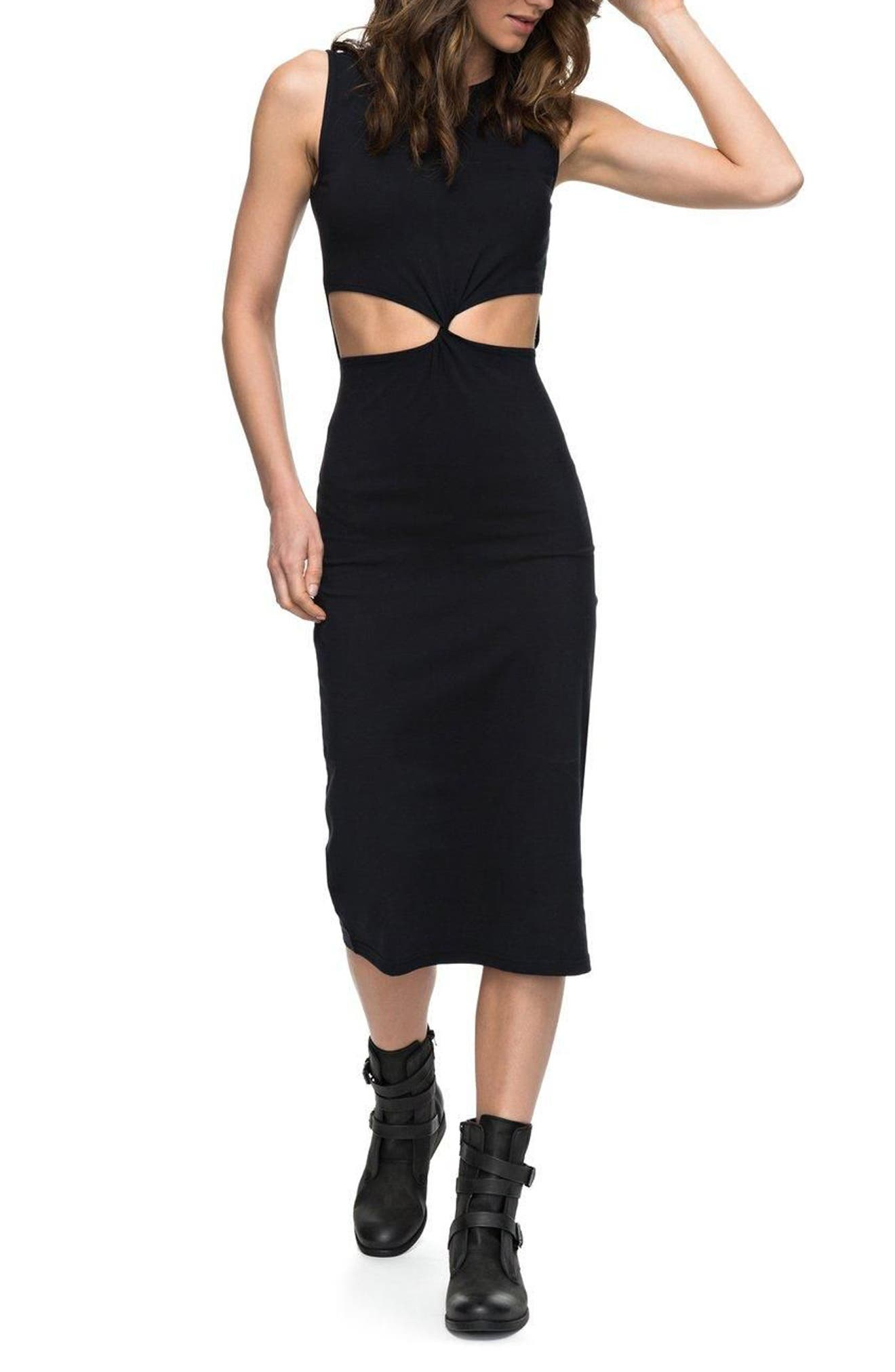 May Blossom Cutout Midi Dress,                         Main,                         color, Anthracite