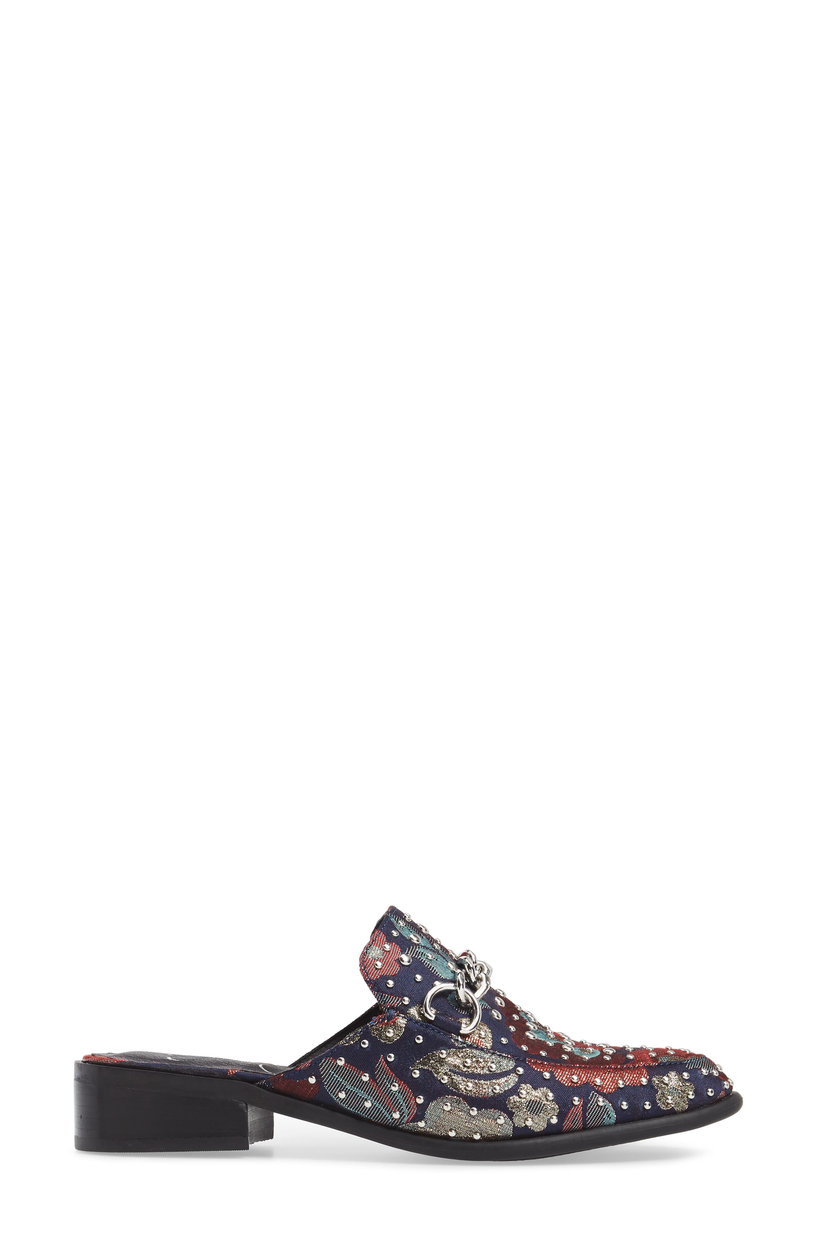 Beez Loafer Mule,                             Alternate thumbnail 3, color,                             Blue Multi Brocade Fabric