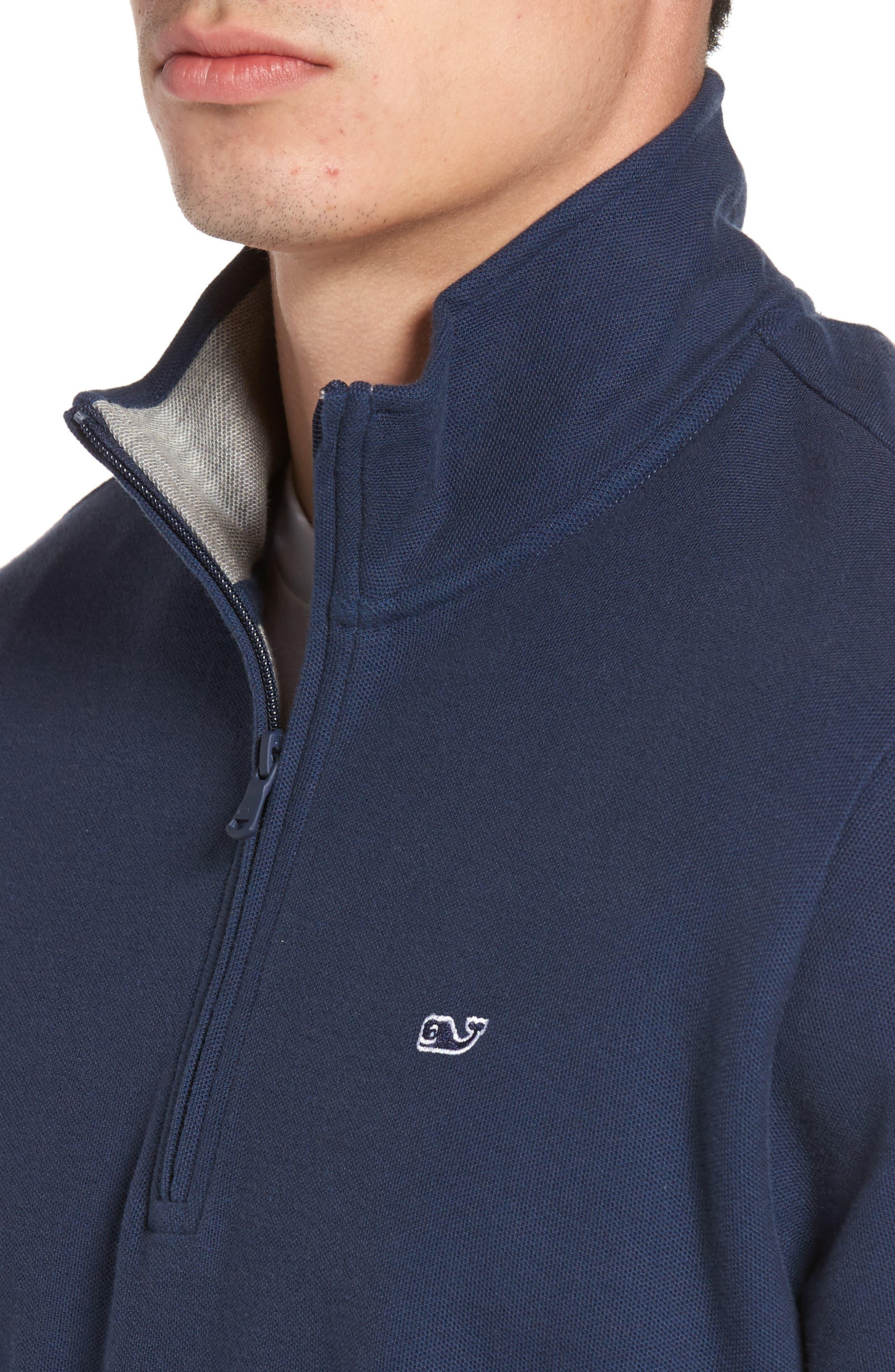 Reverse Oxford Quarter Zip Pullover,                             Alternate thumbnail 4, color,                             Vineyard Navy