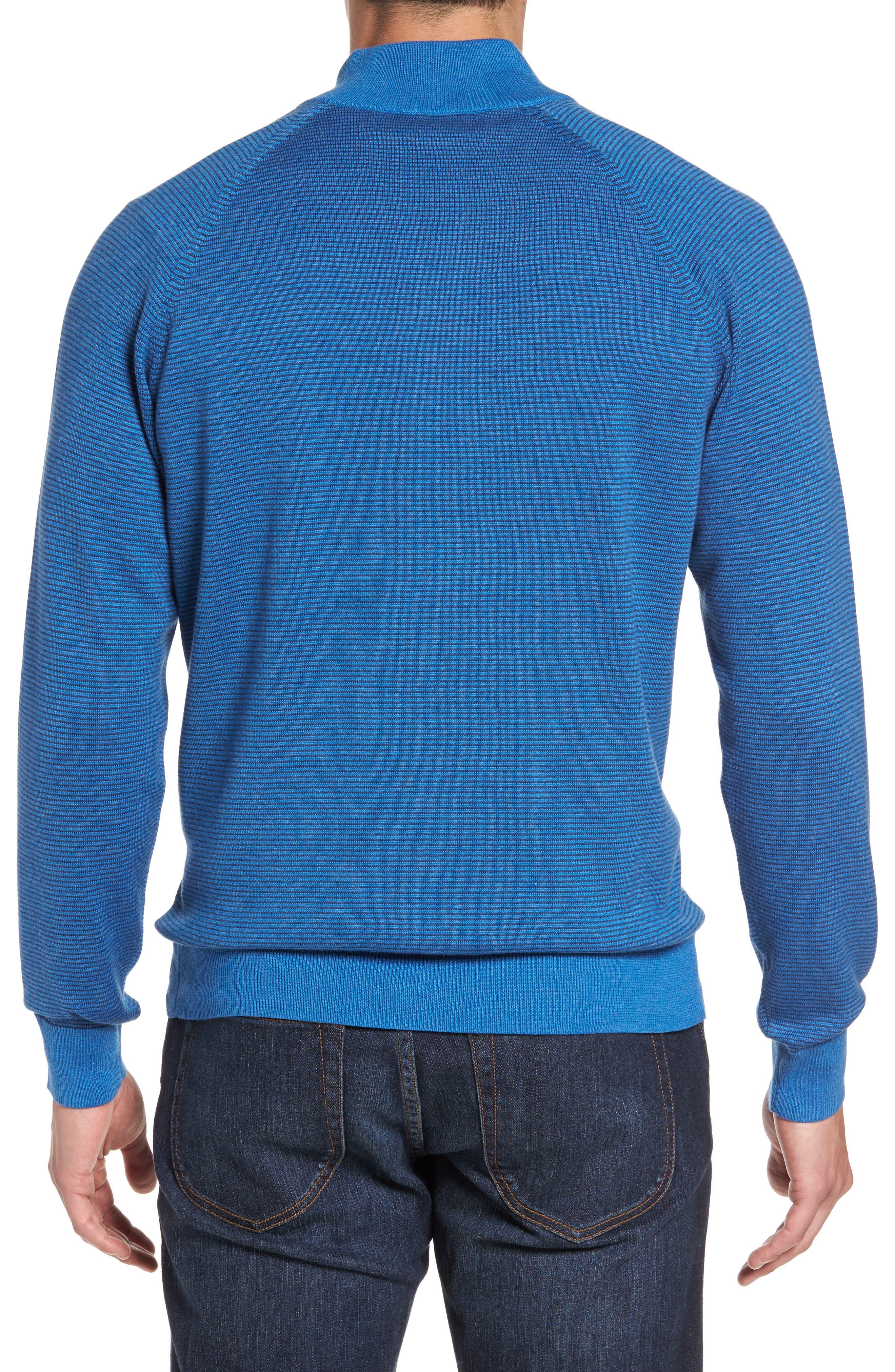 Fine Stripe Quarter Zip Sweater,                             Alternate thumbnail 2, color,                             Regatta Blue