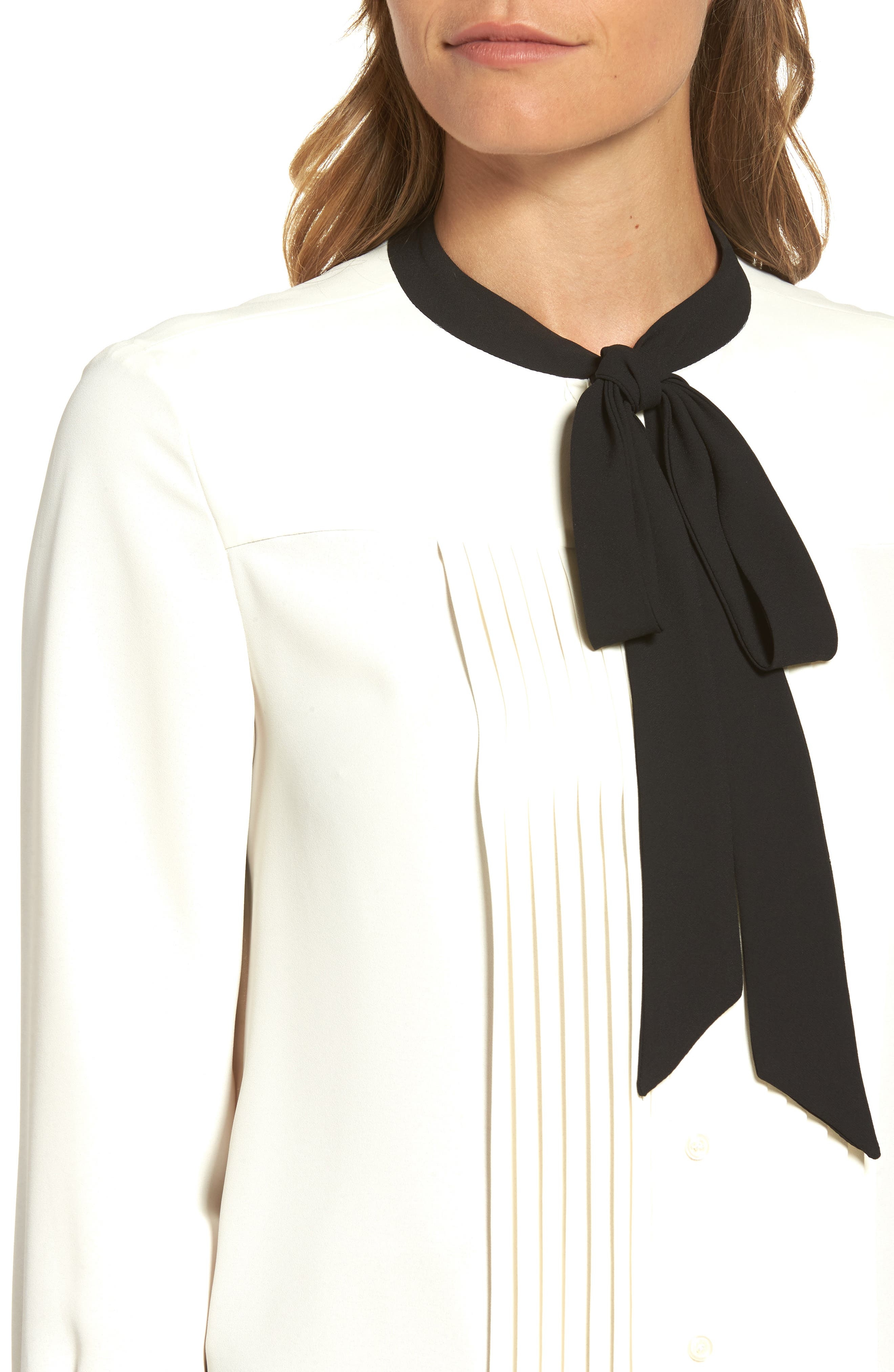 Bow Neck Blouse,                             Alternate thumbnail 4, color,                             White