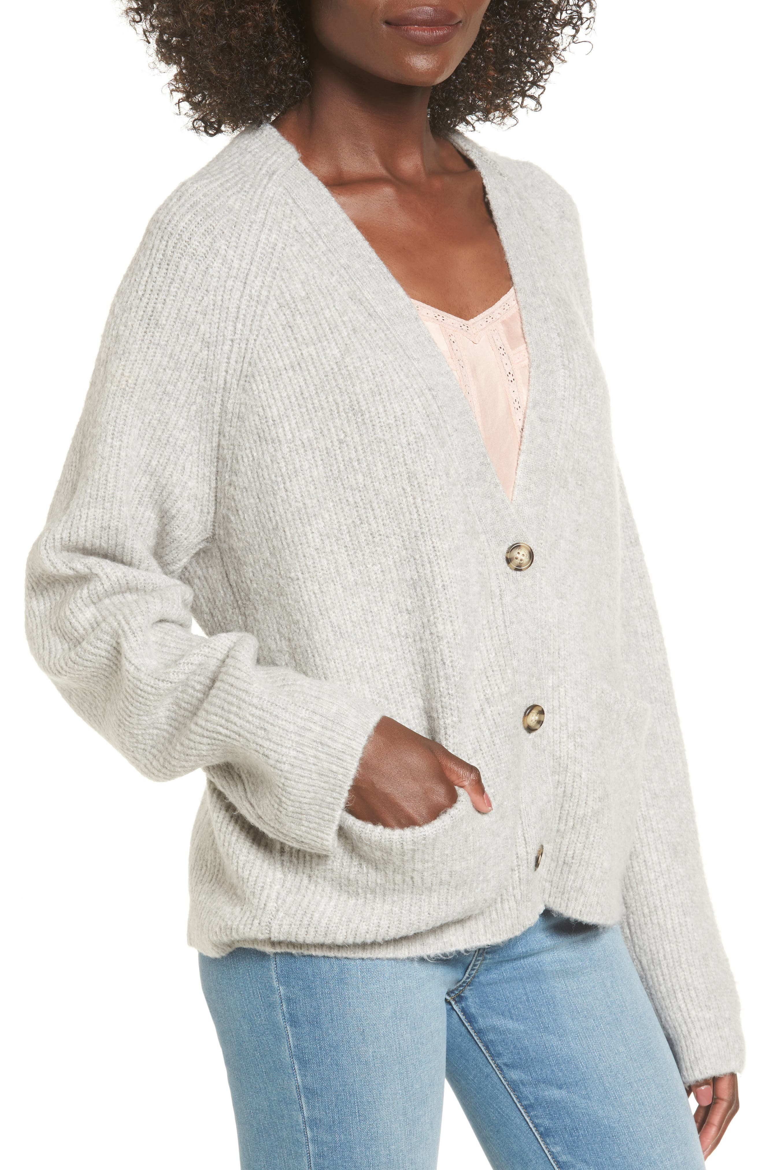 Cardigan Sweater,                             Alternate thumbnail 4, color,                             Grey Med Htr