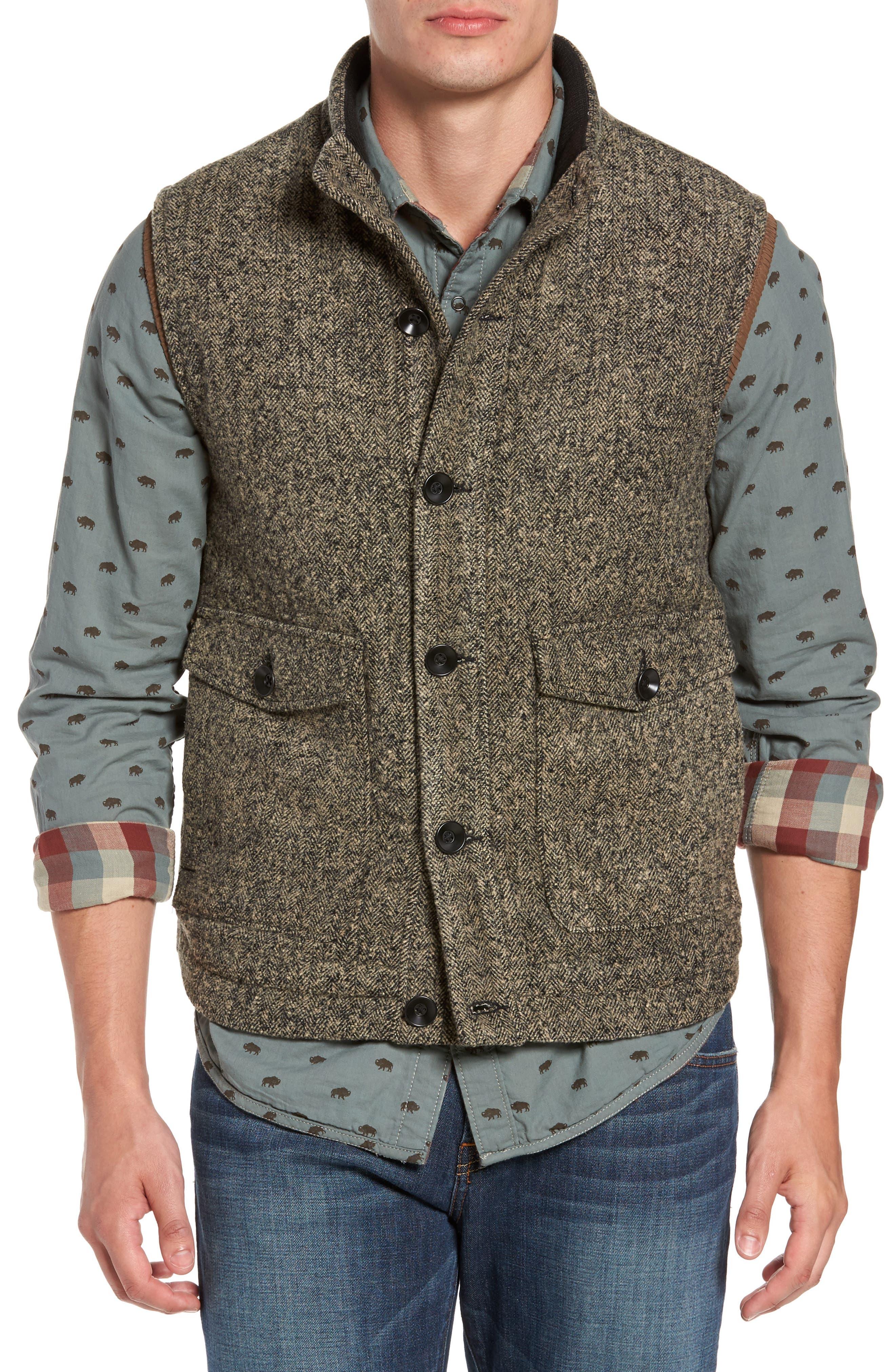Sanford Herringbone Vest,                         Main,                         color, Mule Heather