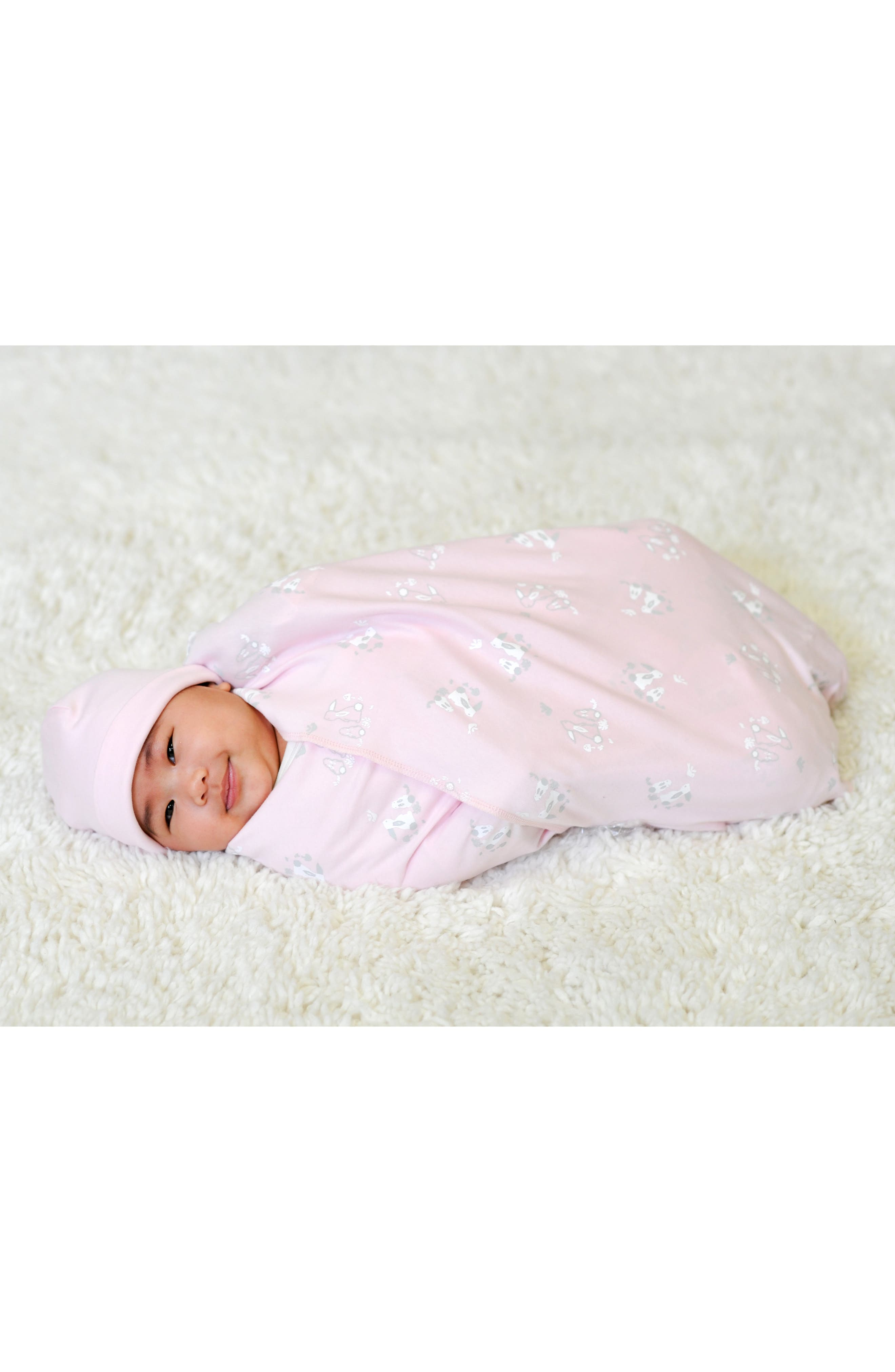 3-Piece Bunny Print Swaddle Blanket, Beanie & Lovey Toy Set,                             Alternate thumbnail 2, color,                             Pink