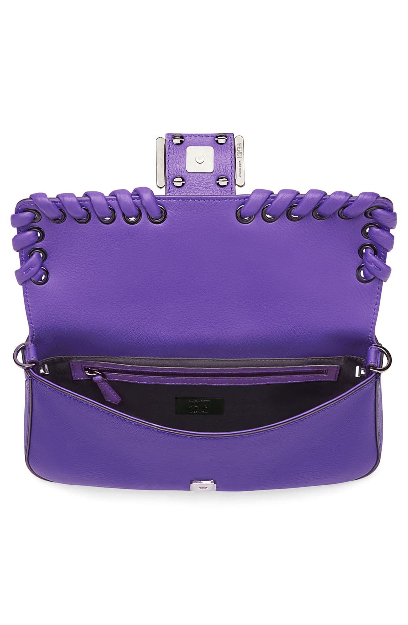 'Dolce' Calfskin Leather Baguette,                             Alternate thumbnail 4, color,                             Purple Rain/ Ruthenium