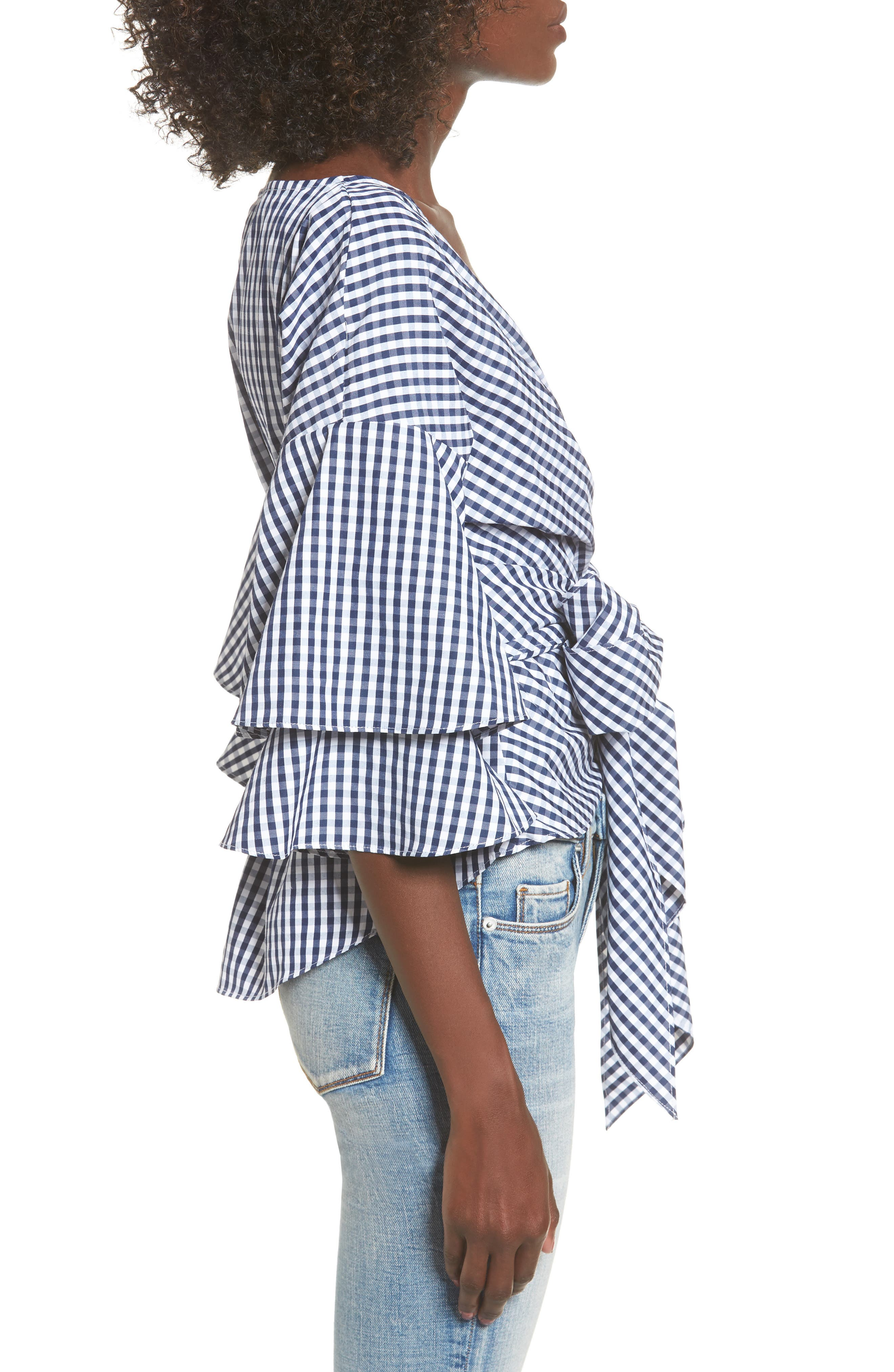 Beckett Tiered Bell Sleeve Top,                             Alternate thumbnail 4, color,                             Navy/ White