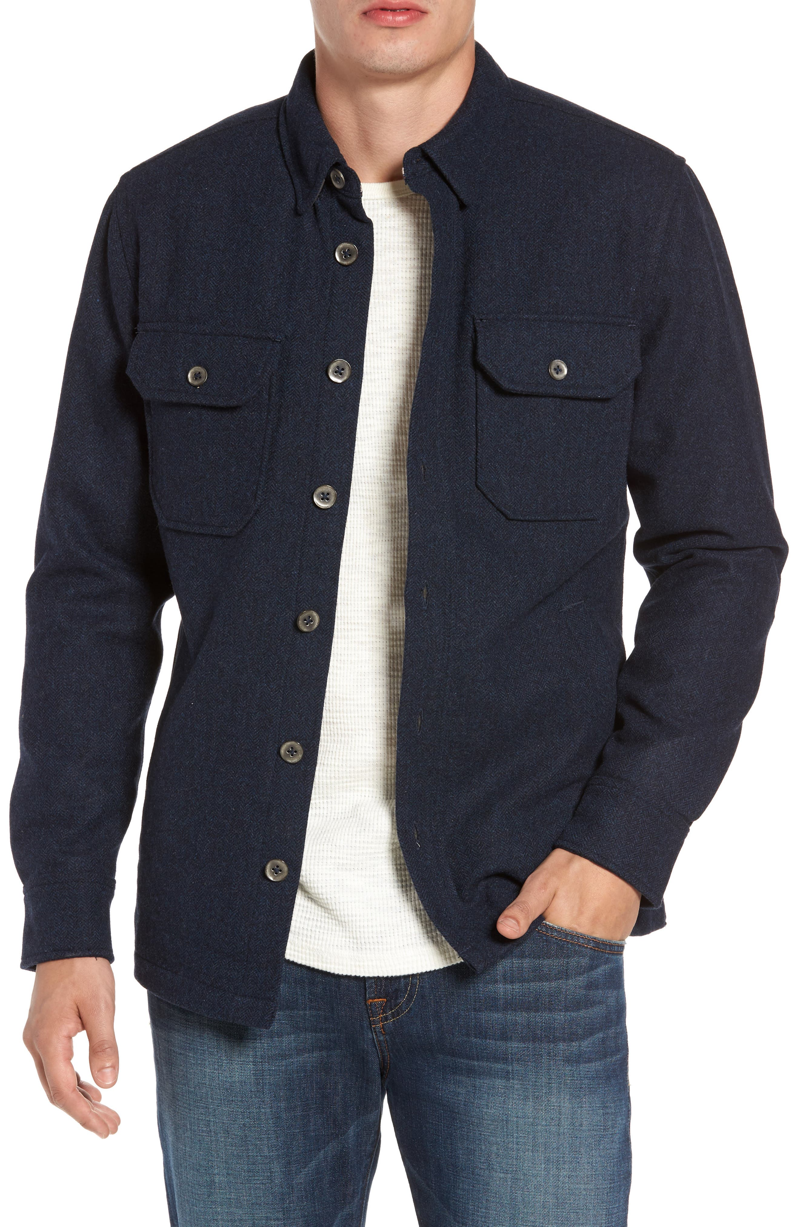 Jeremiah Creek Herringbone Wool Shirt Jacket
