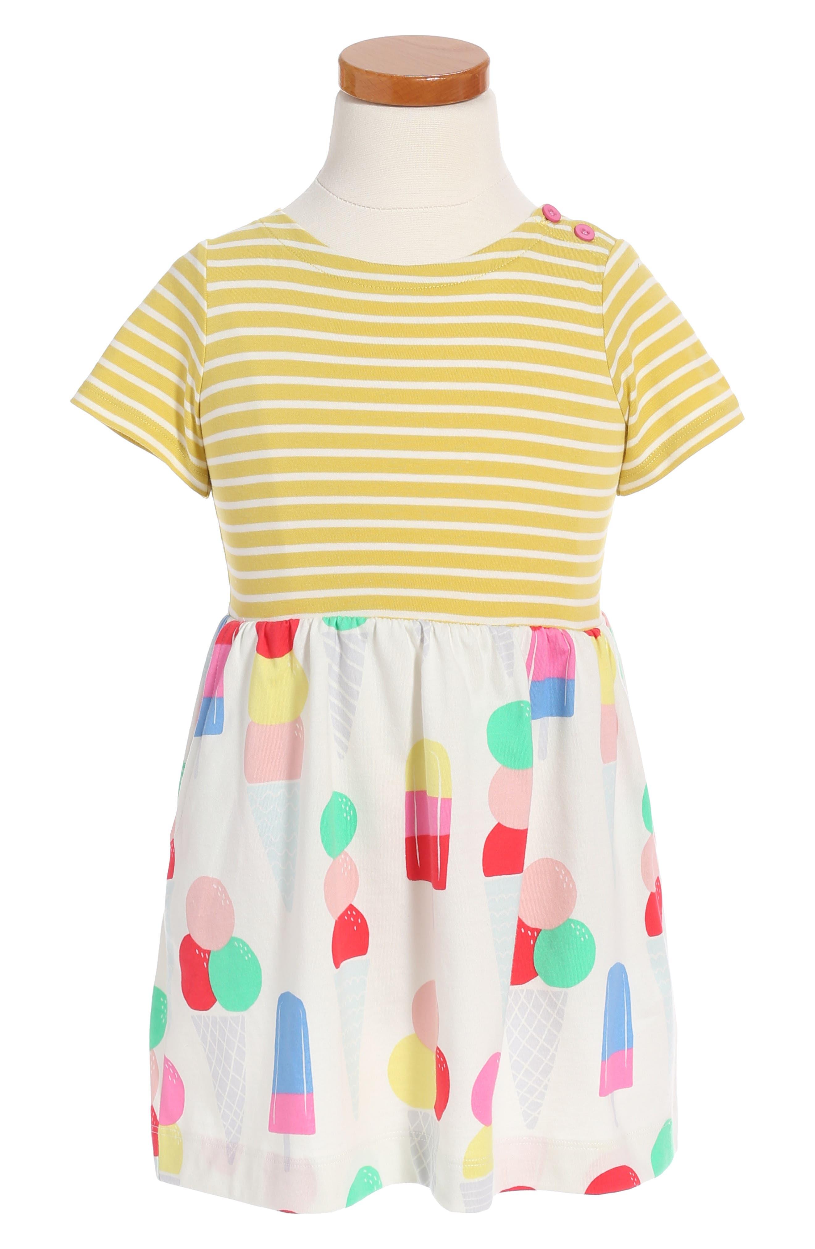Mixed Print Dress,                         Main,                         color, Yellow Ice Cream