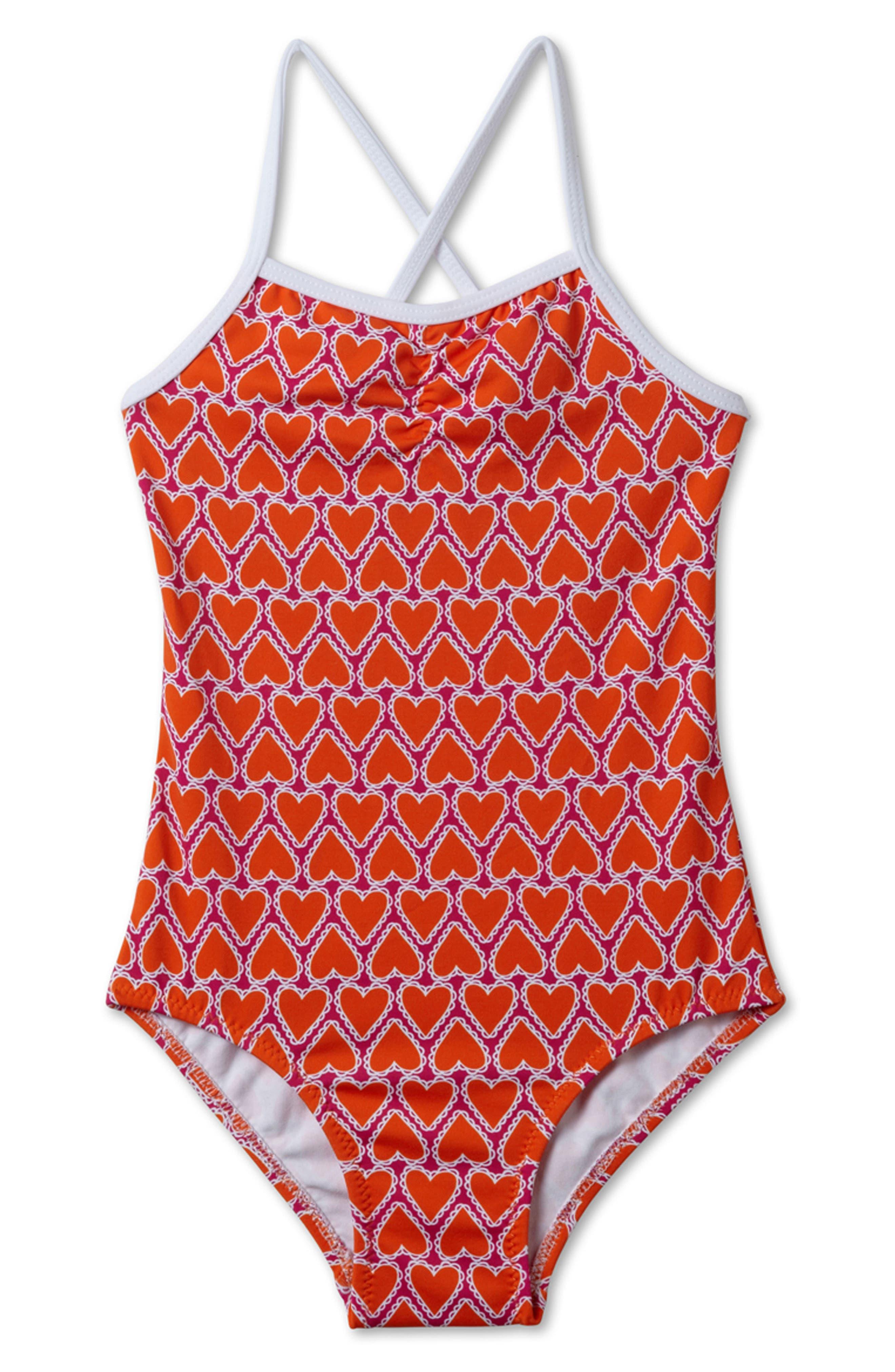Heart Print One-Piece Swimsuit,                         Main,                         color, Orange