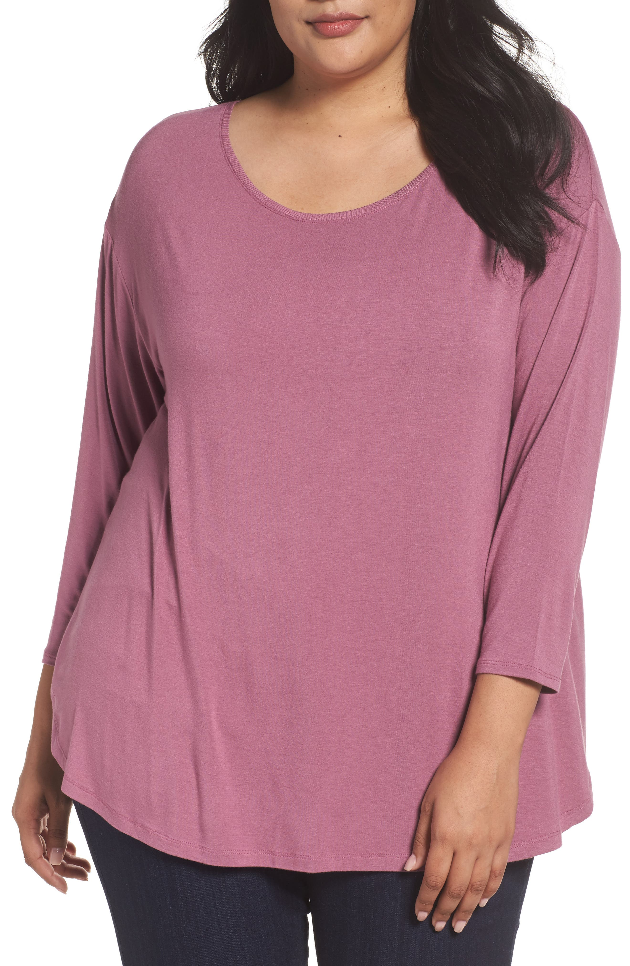 Scoop Neck Tee,                         Main,                         color, Purple Syrup