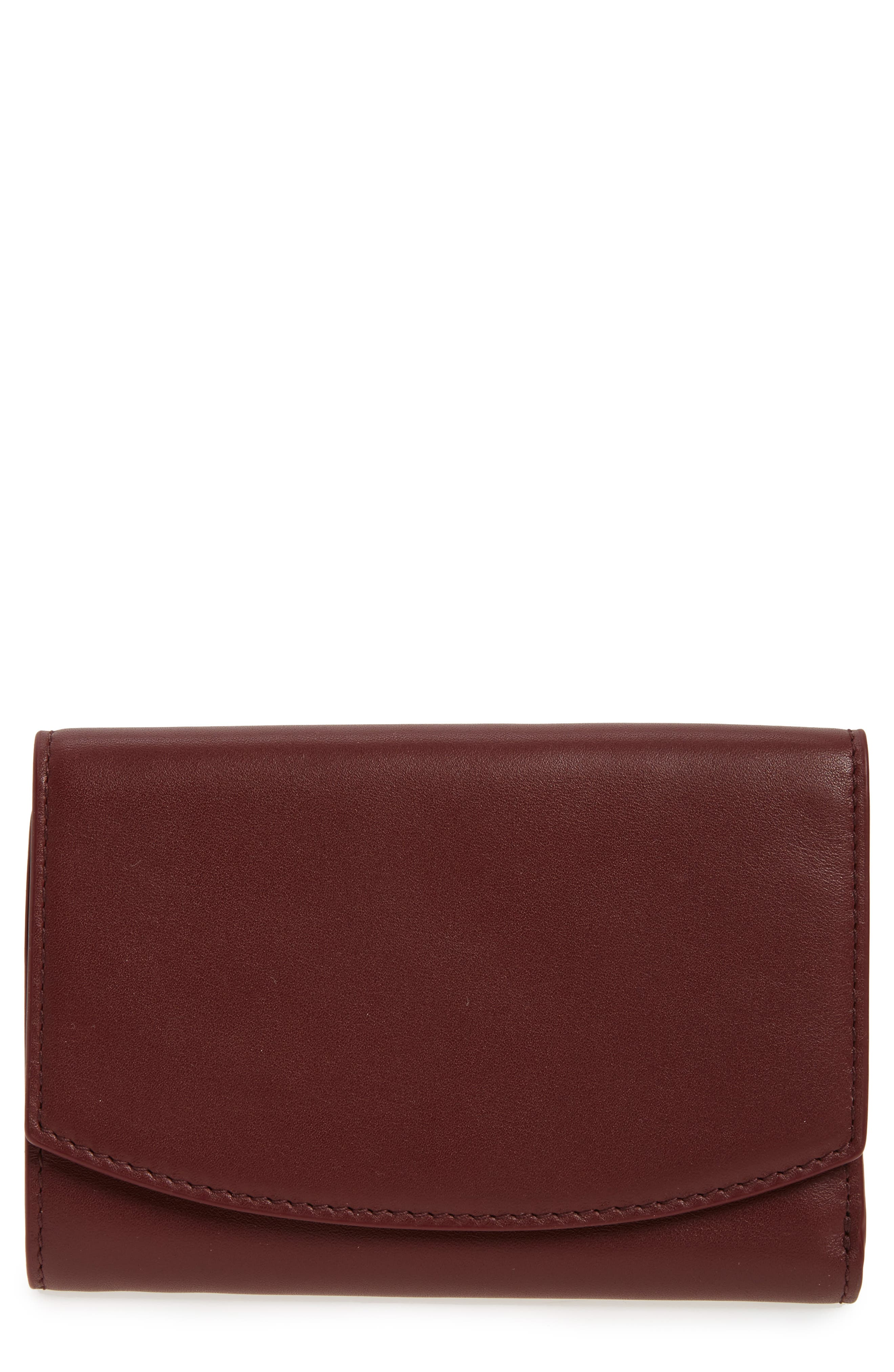 Compact Flap Leather Wallet,                         Main,                         color, Cordovan