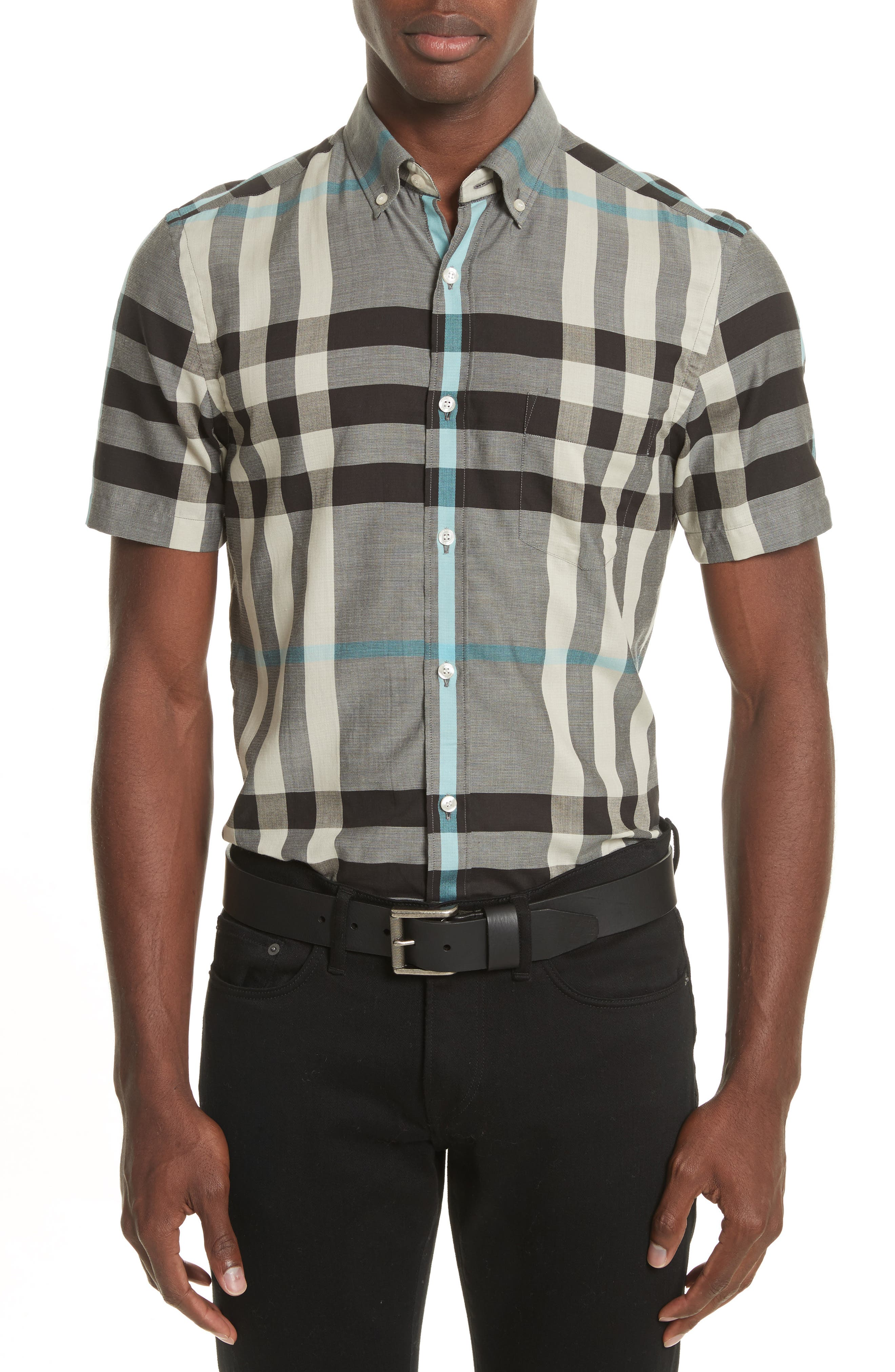 Burberry Moore Regular Fit Plaid Short Sleeve Sport Shirt
