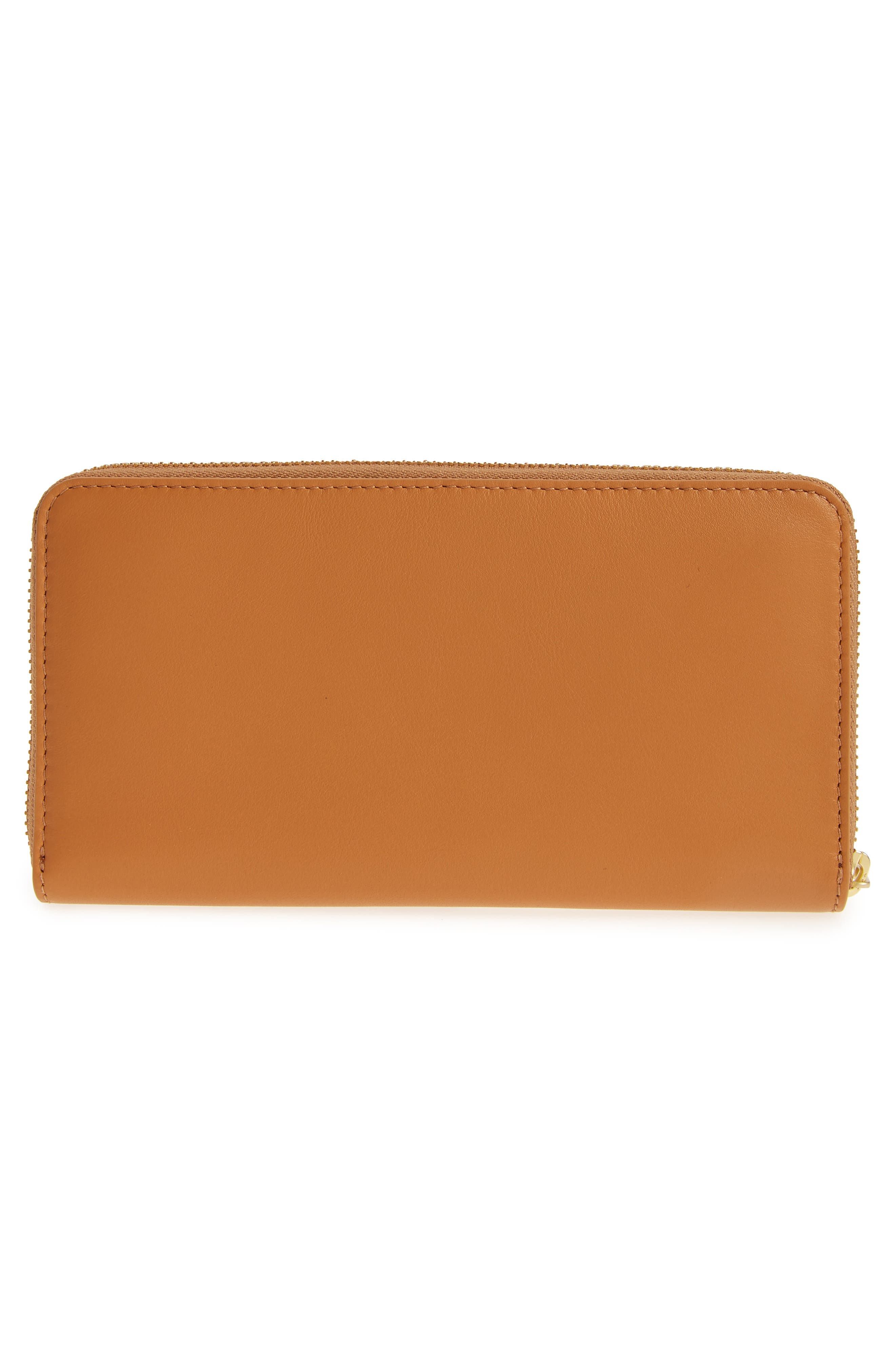 Leather Continental Wallet,                             Alternate thumbnail 3, color,                             Tan