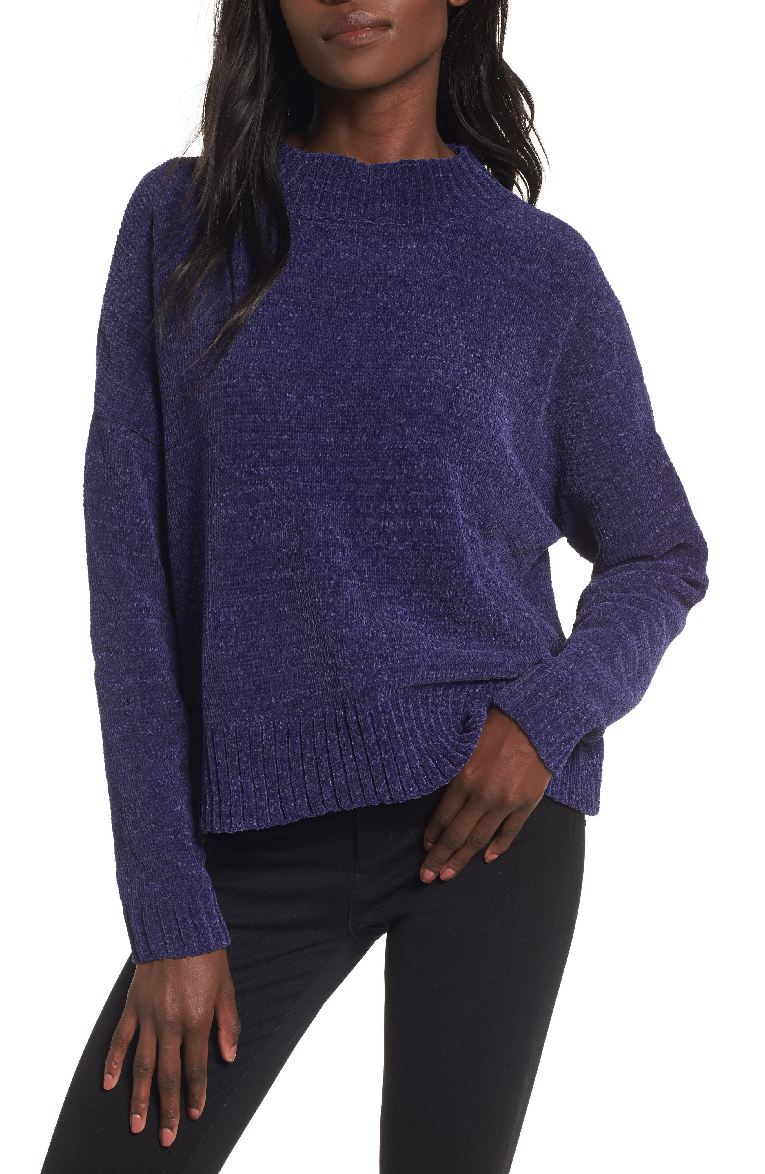 Chenille Funnel Neck Sweater,                         Main,                         color, Purple Amethyst