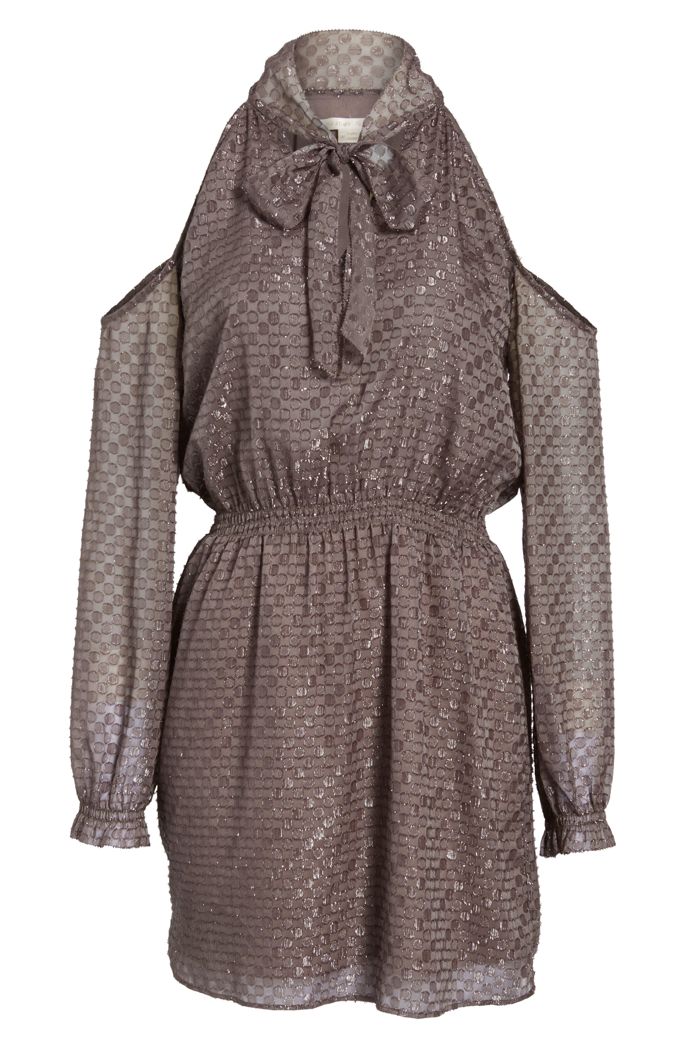 Cornelia Blouson Dress,                             Alternate thumbnail 6, color,                             Brown