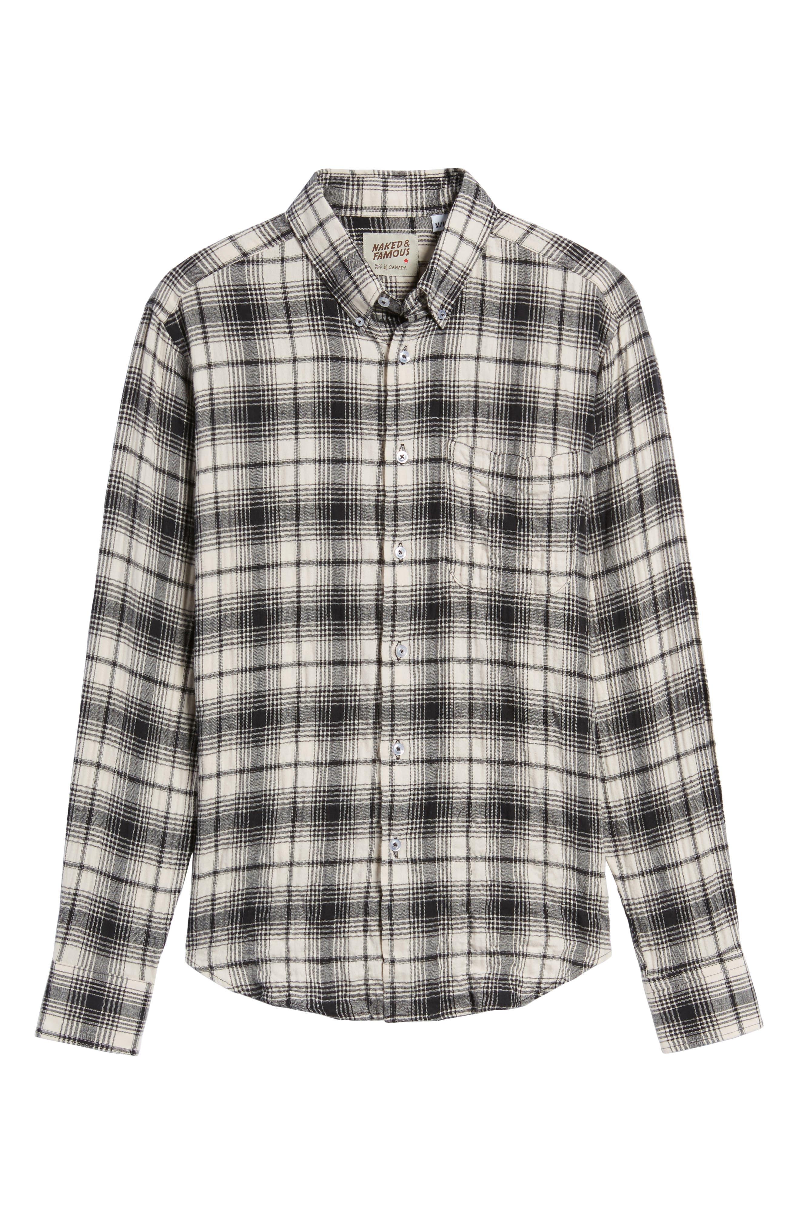 Regular Fit Plaid Flannel Sport Shirt,                             Alternate thumbnail 6, color,                             White