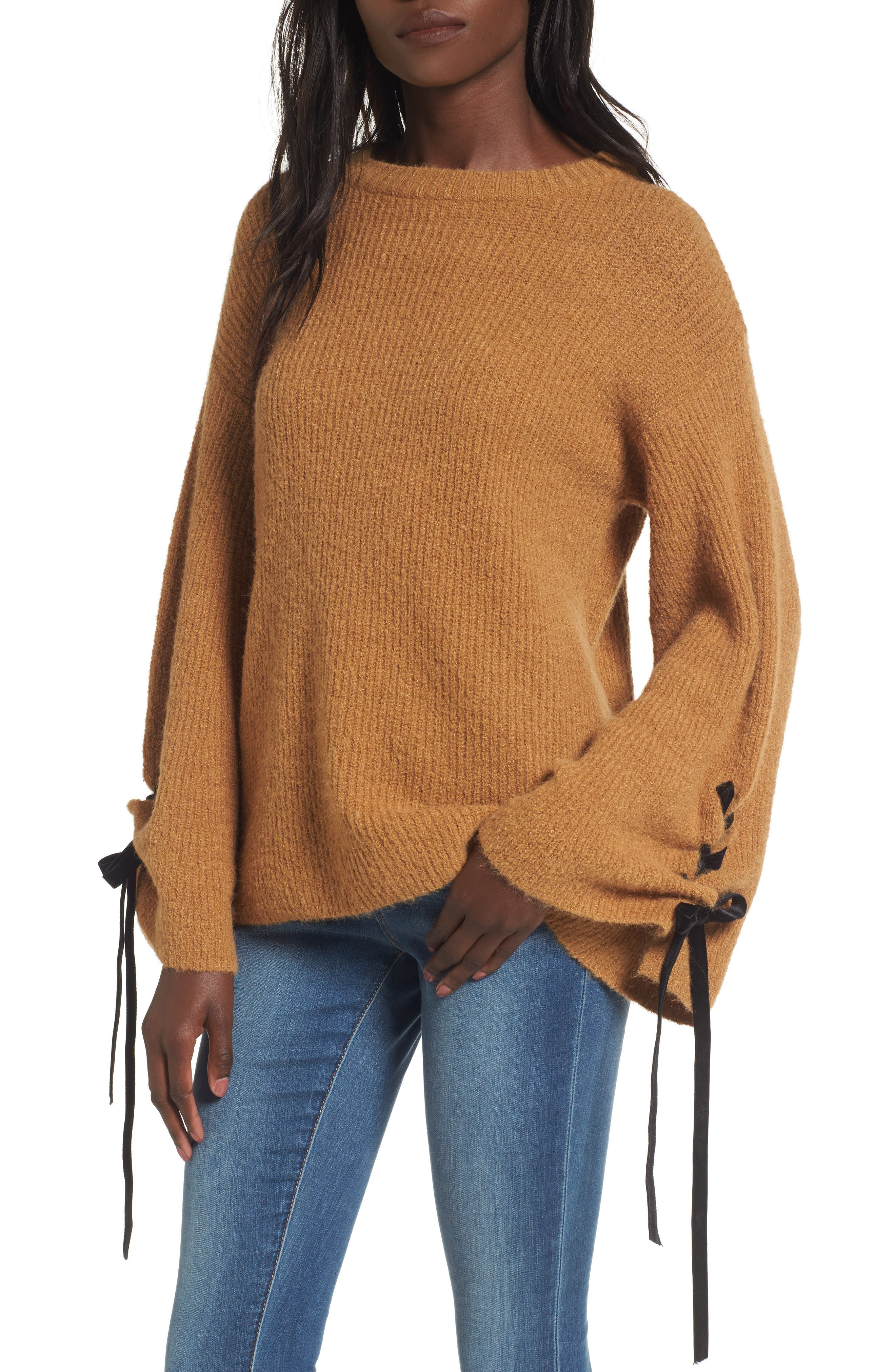 Alternate Image 1 Selected - BP. Lace-Up Sleeve Sweater