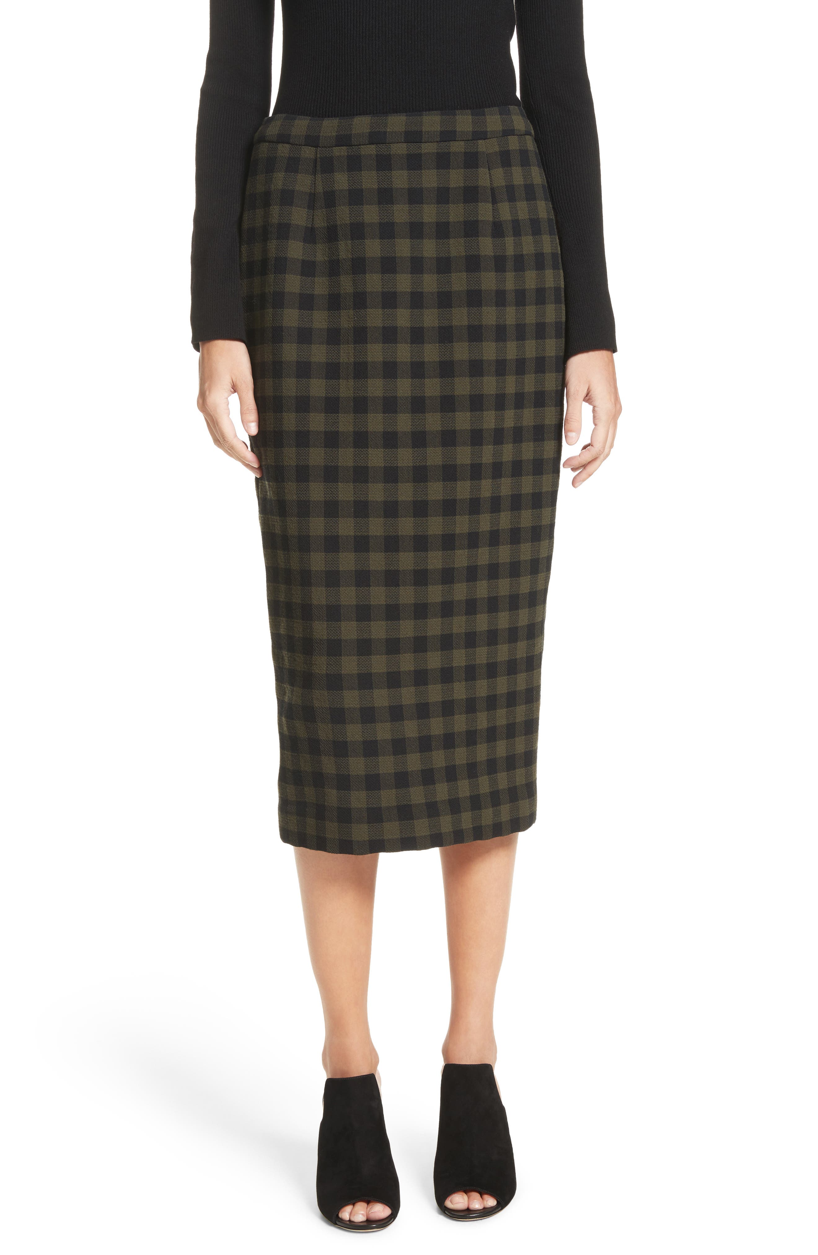 Thea Plaid Wool Pencil Skirt,                         Main,                         color, Army/ Black