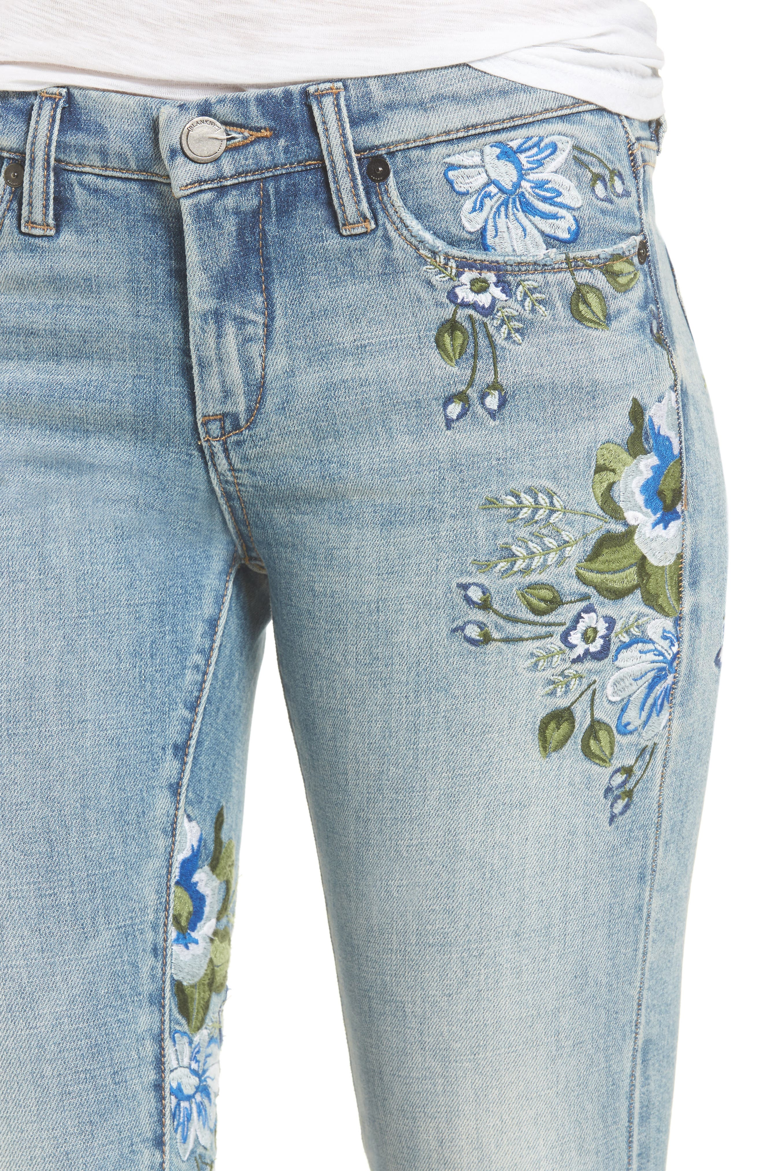 Alternate Image 4  - BLANKNYC Floral Embroidered Skinny Jeans (Back to Nature)