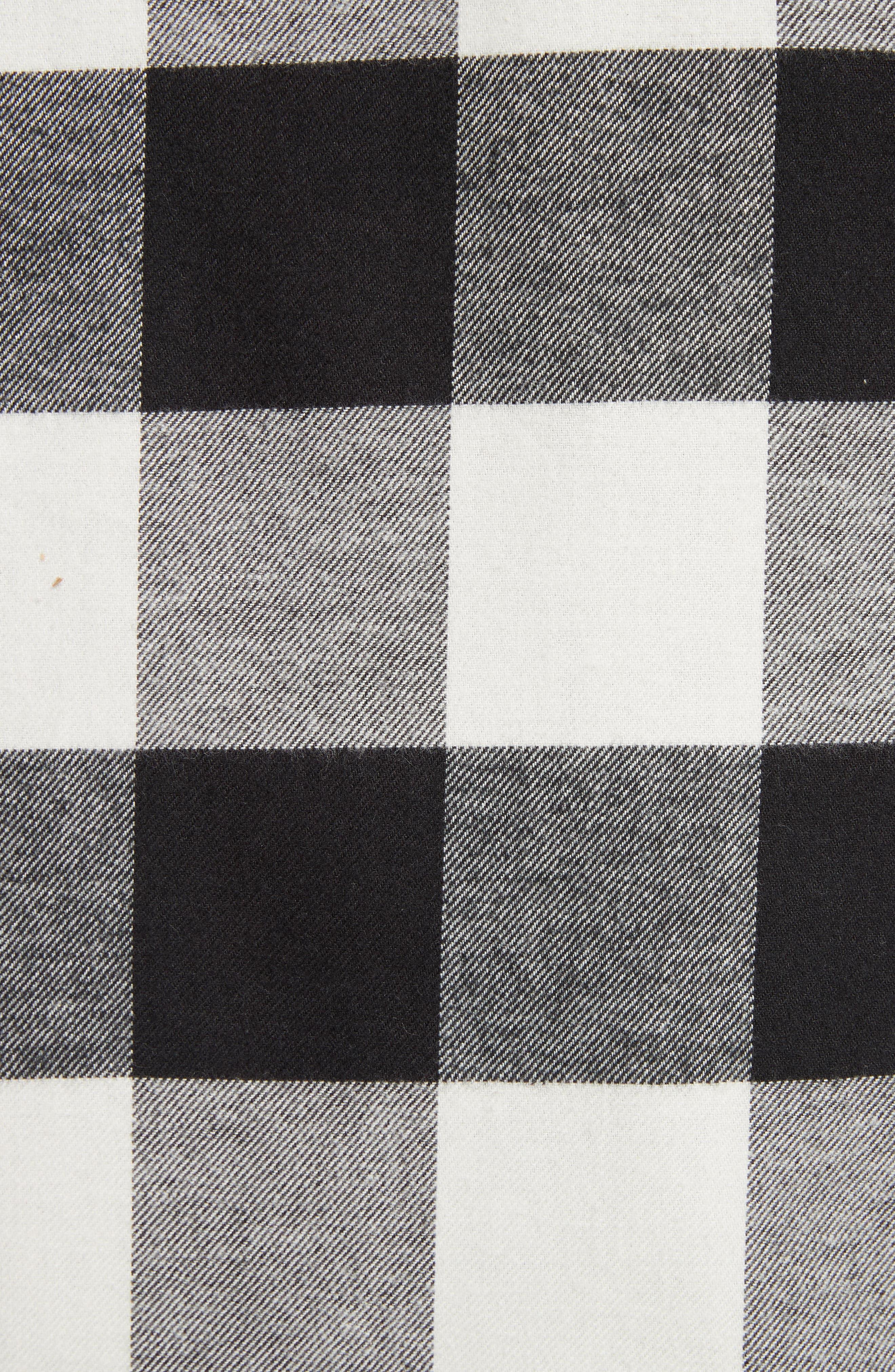 Live and Let Live Plaid Flannel Sport Shirt,                             Alternate thumbnail 5, color,                             Black/ Off White