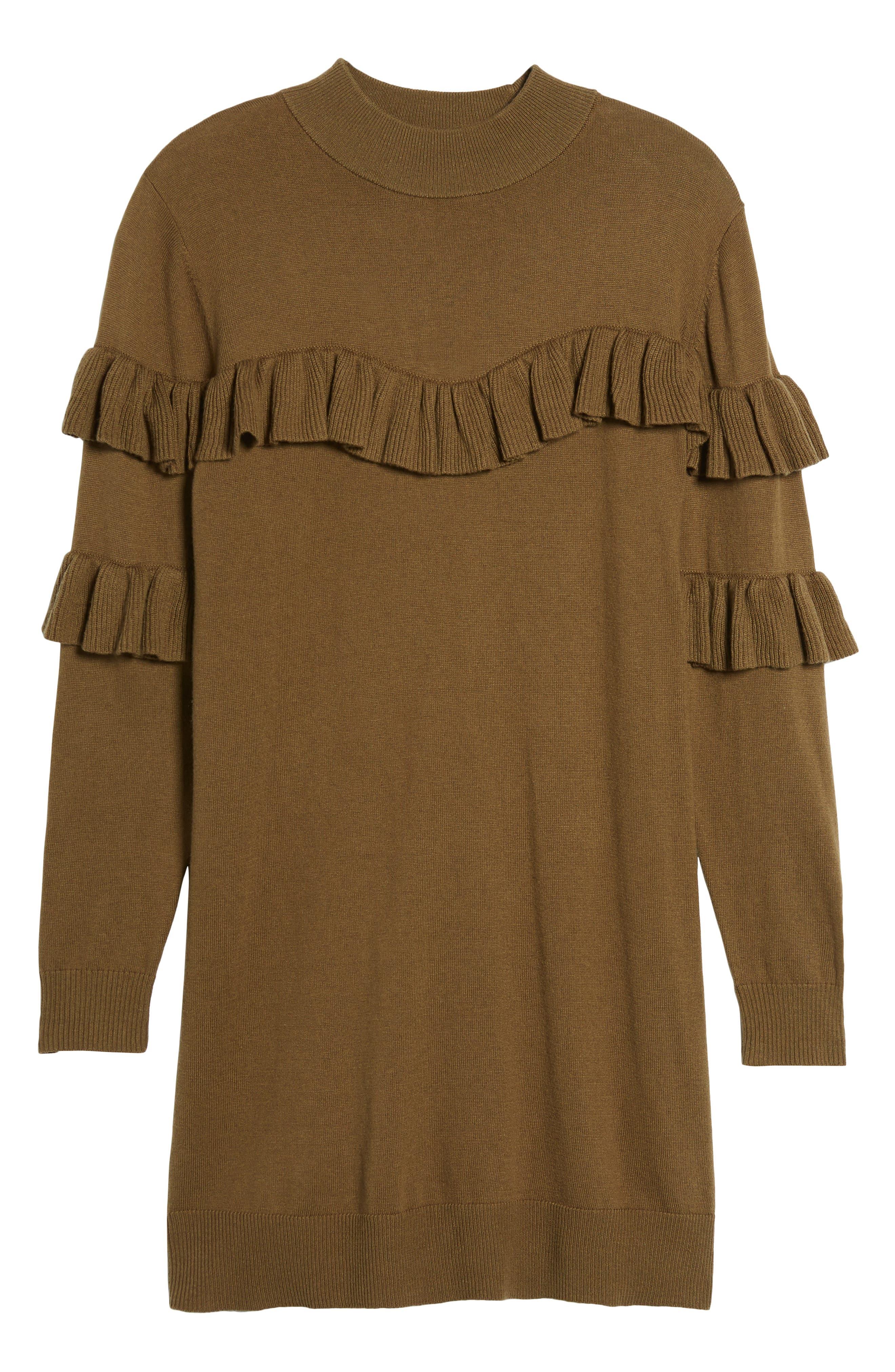Ruffle Sweater Dress,                             Alternate thumbnail 6, color,                             Olive Dark