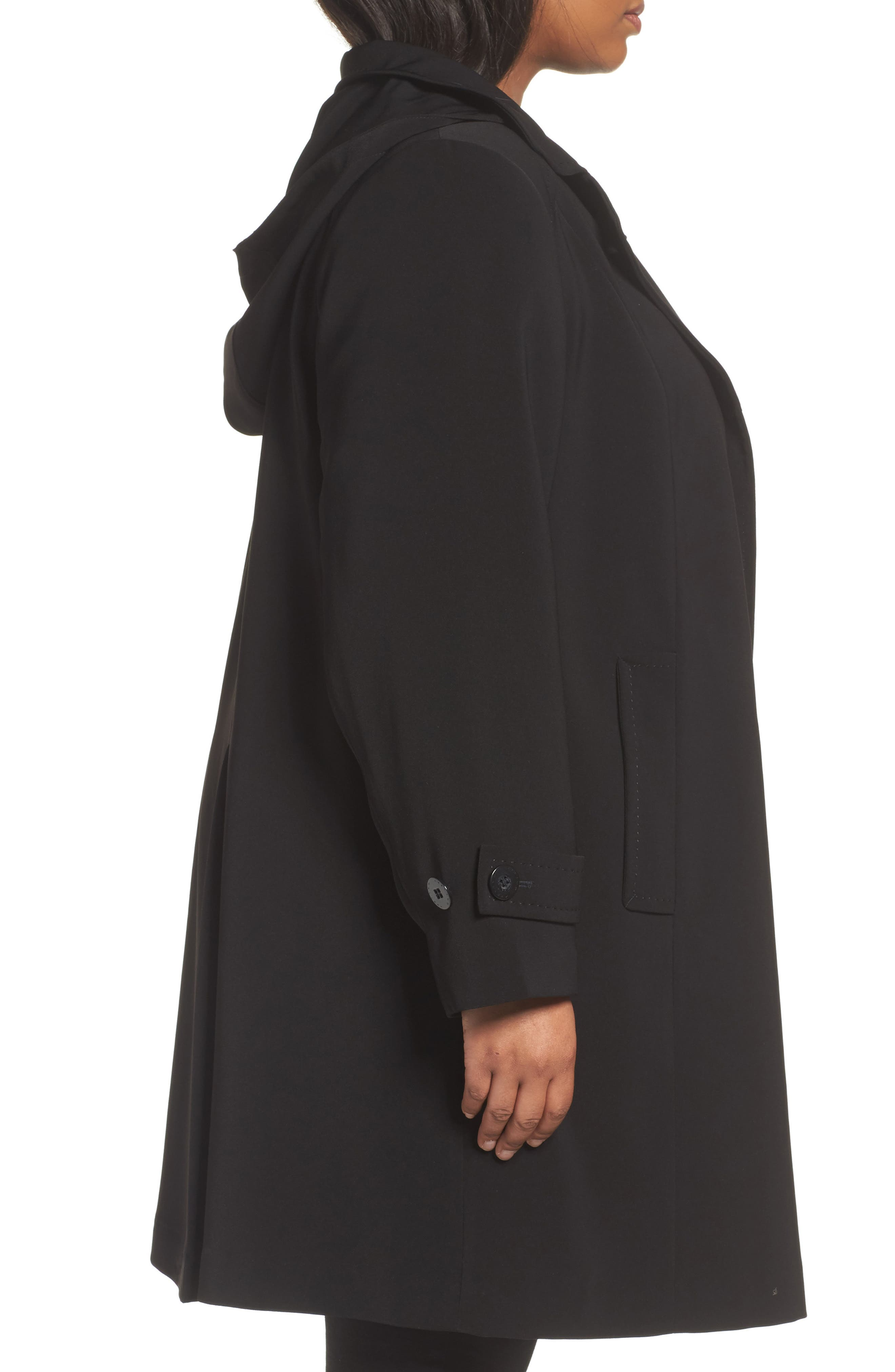 Alternate Image 3  - Gallery A-Line Raincoat with Detachable Hood & Liner (Plus Size)