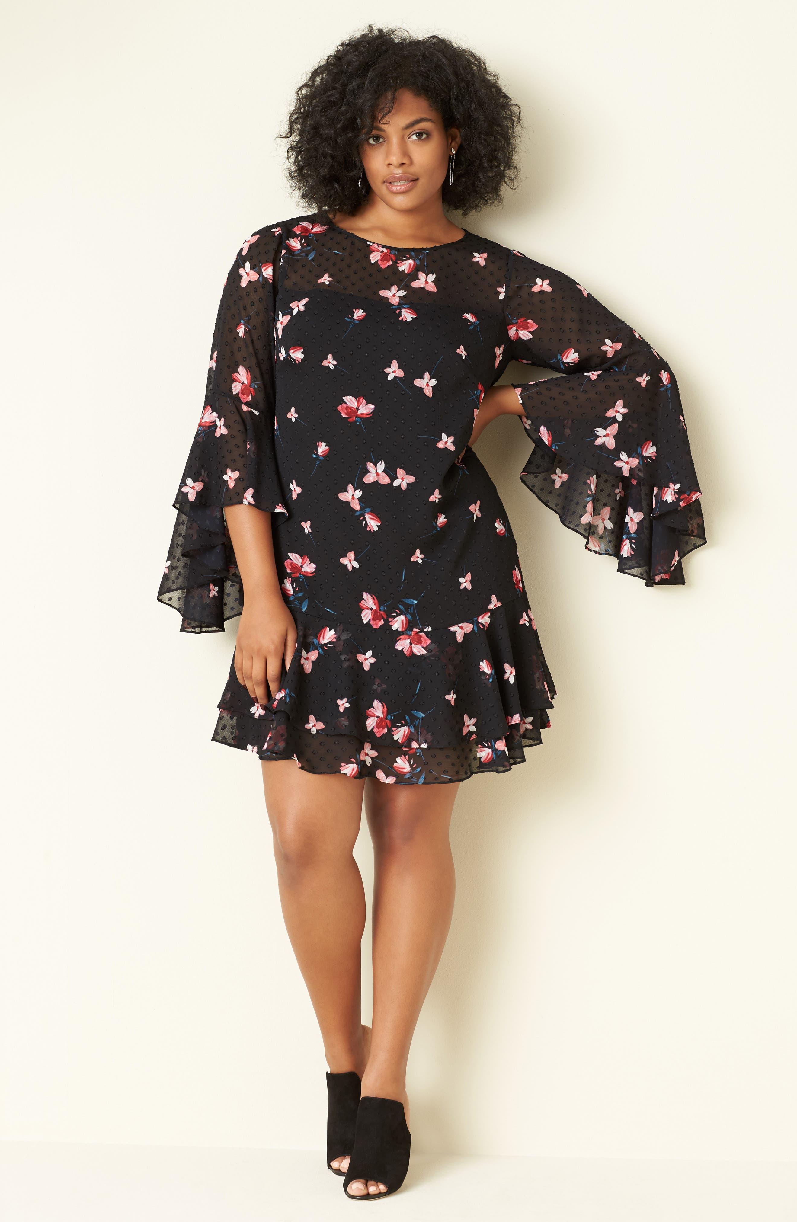Alternate Image 2  - Eliza J Ruffle Fit & Flare Dress (Plus Size)