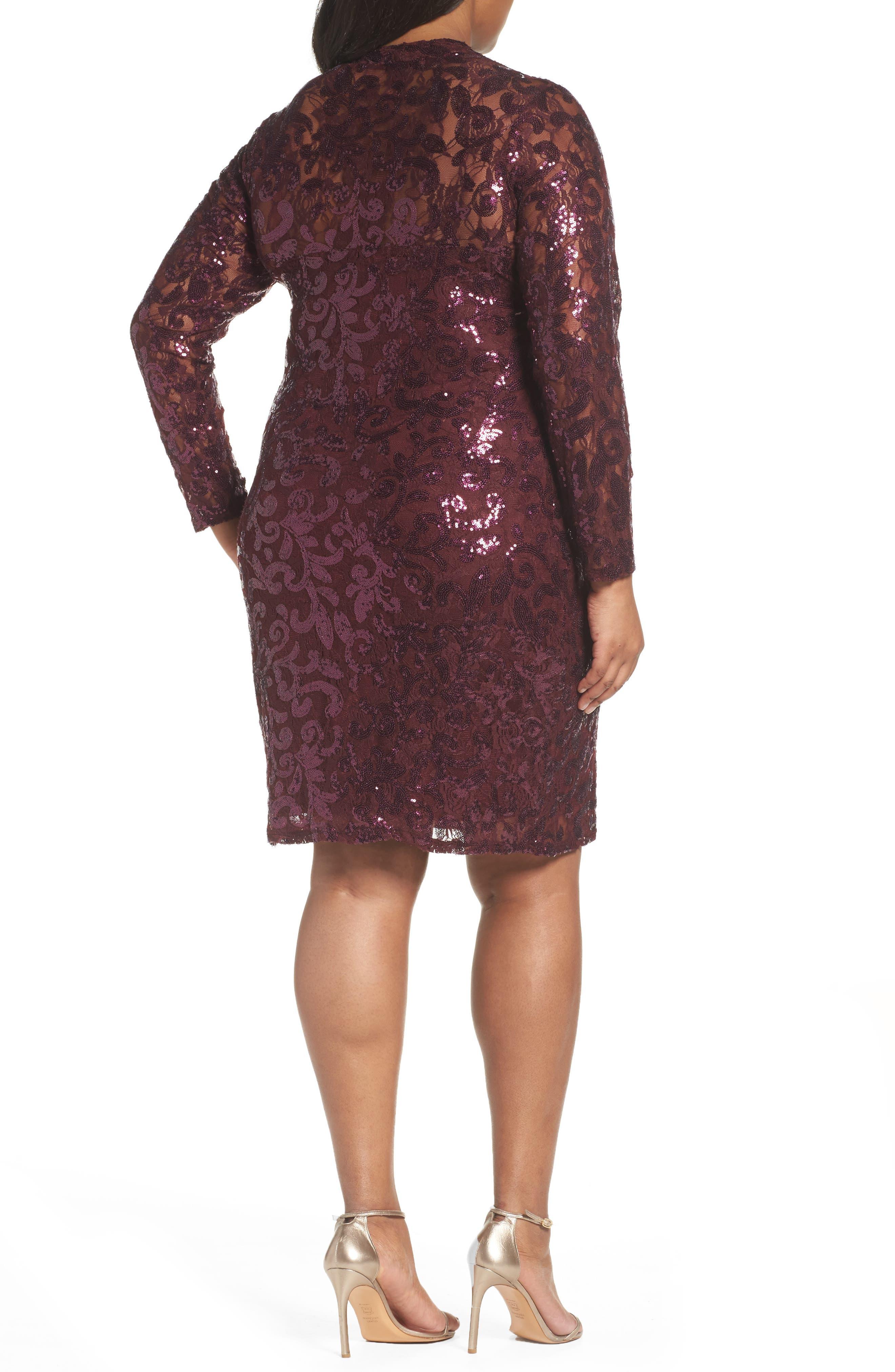 Alternate Image 2  - Marina Sequin Lace Stretch Sheath Dress (Plus Size)
